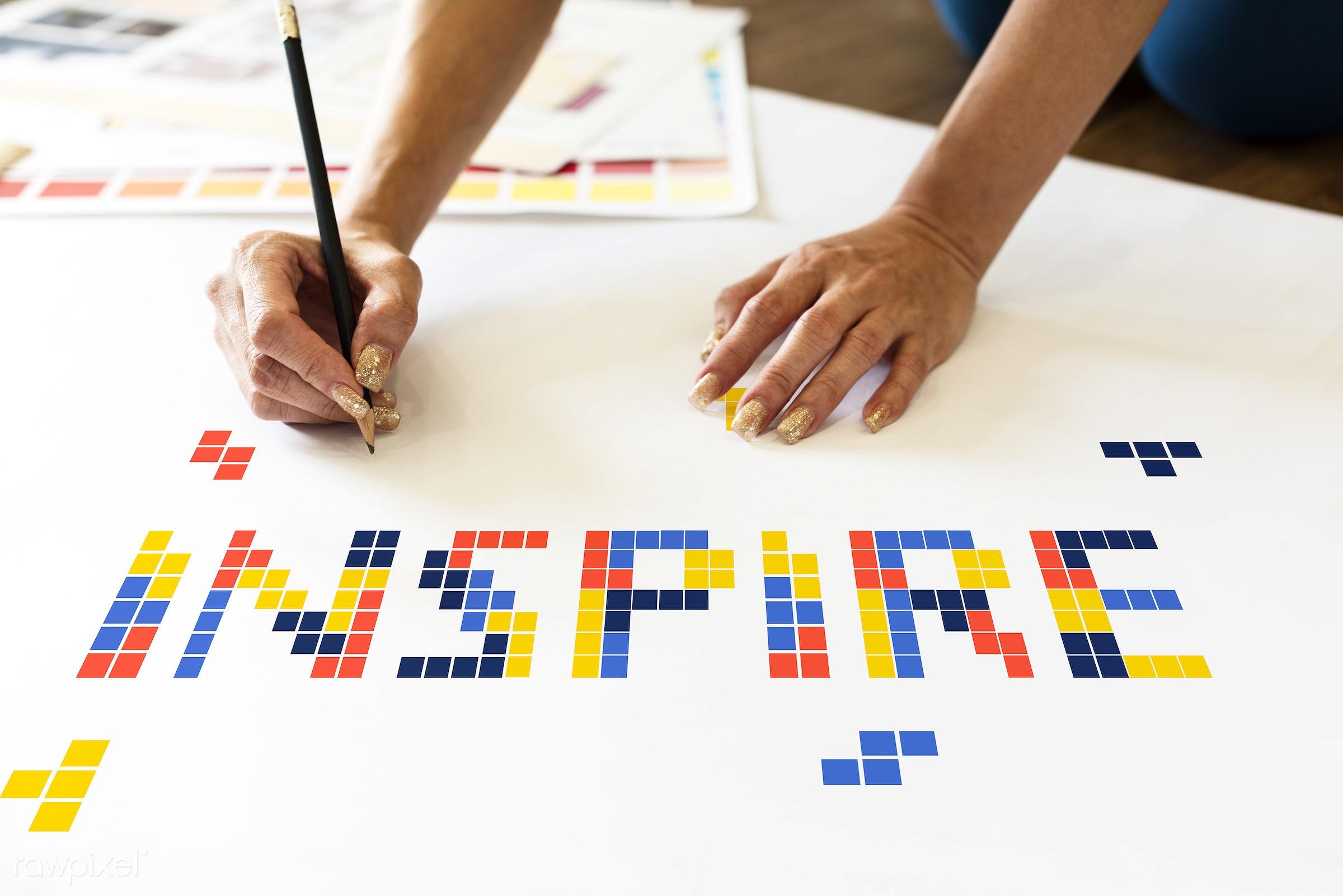 Inspire - 8 bit, art, artistry, block, creation, creative, creativity, design, drawing, game, graphic, graphics, hands,...