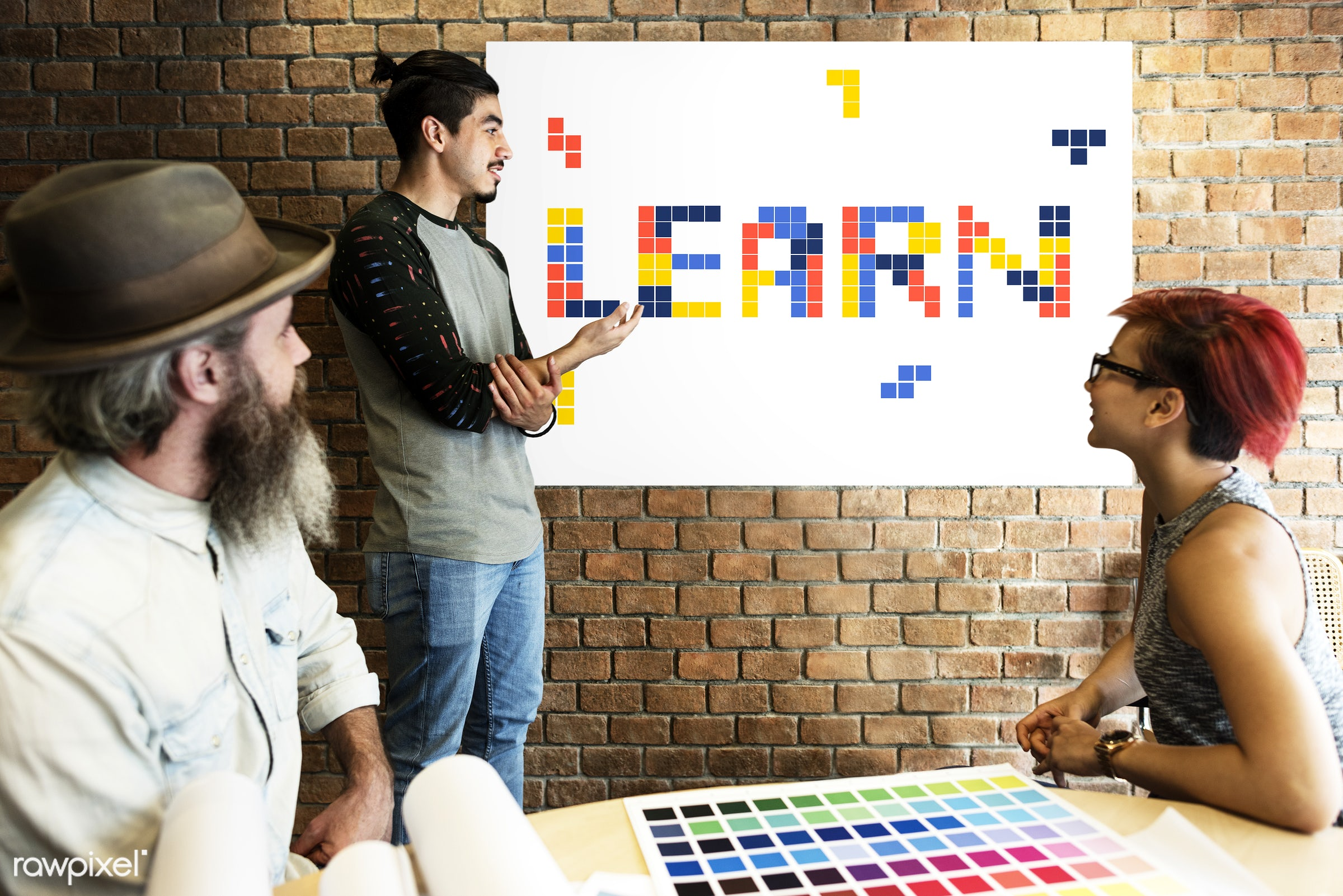8 bit, academics, art, beard, block, board, brick wall, chart, color chart, colors, design, discussion, education, female,...