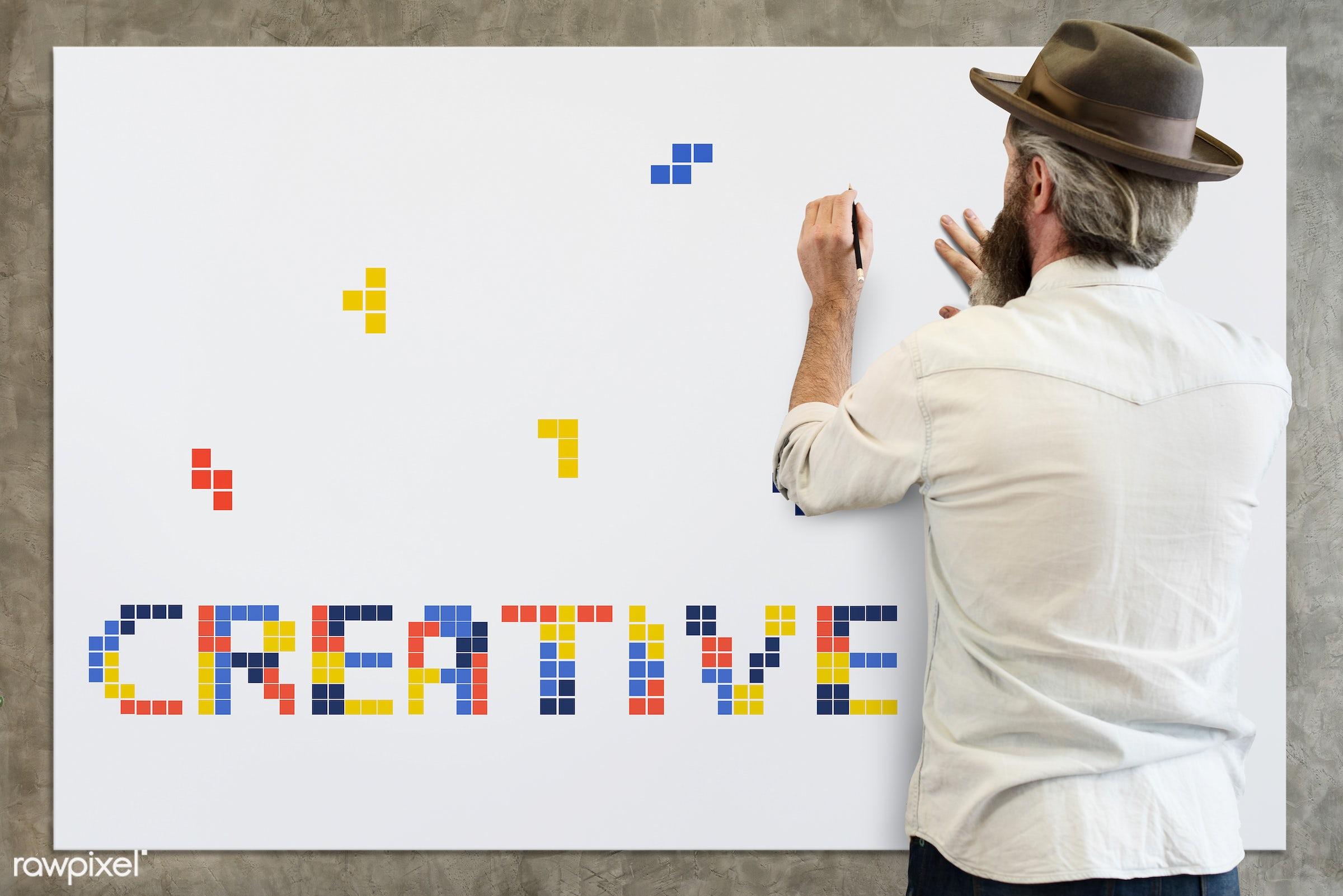 8 bit, adult, alone, art, artistry, back, be creative, beard, beard guy, block, board, carefree, casual, chill, create,...