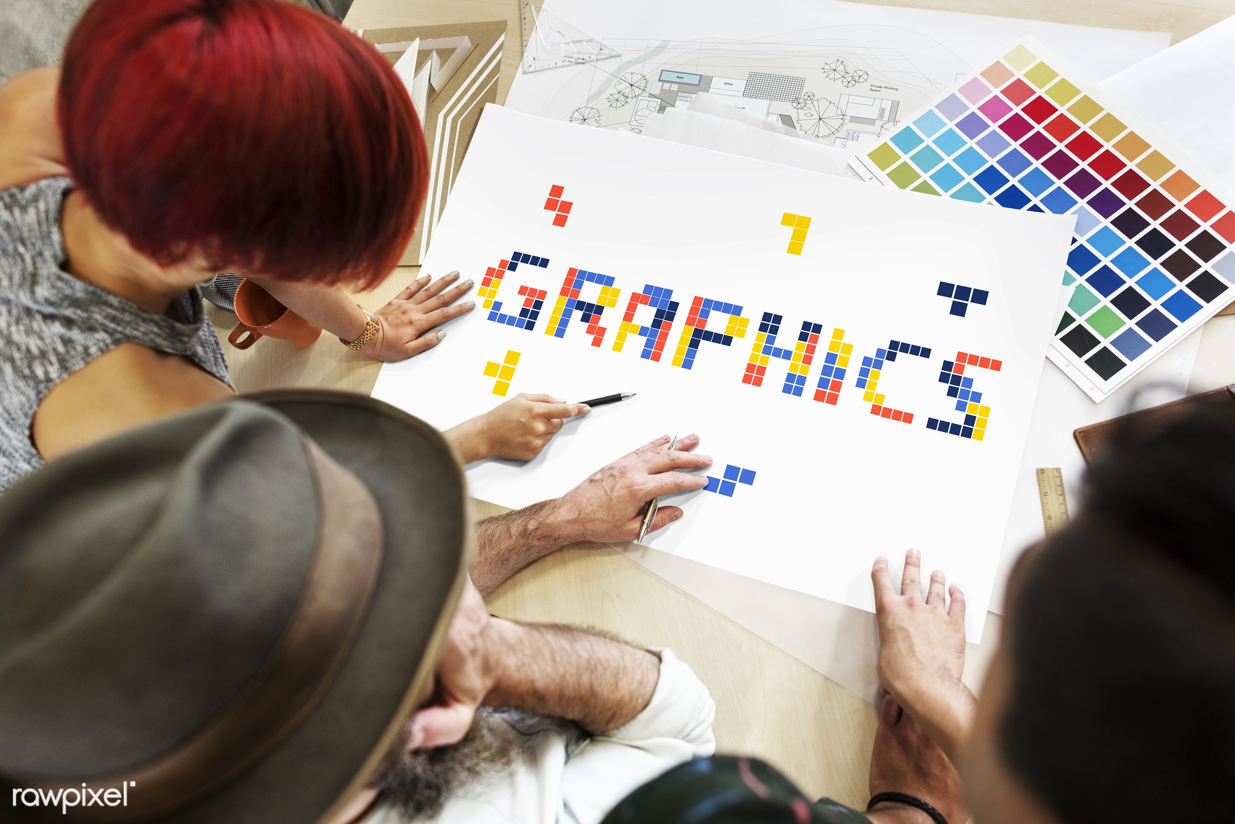 Graphic designers working together - 8 bit, art, artistry, block, color chart, colors, creative, creativity, design,...