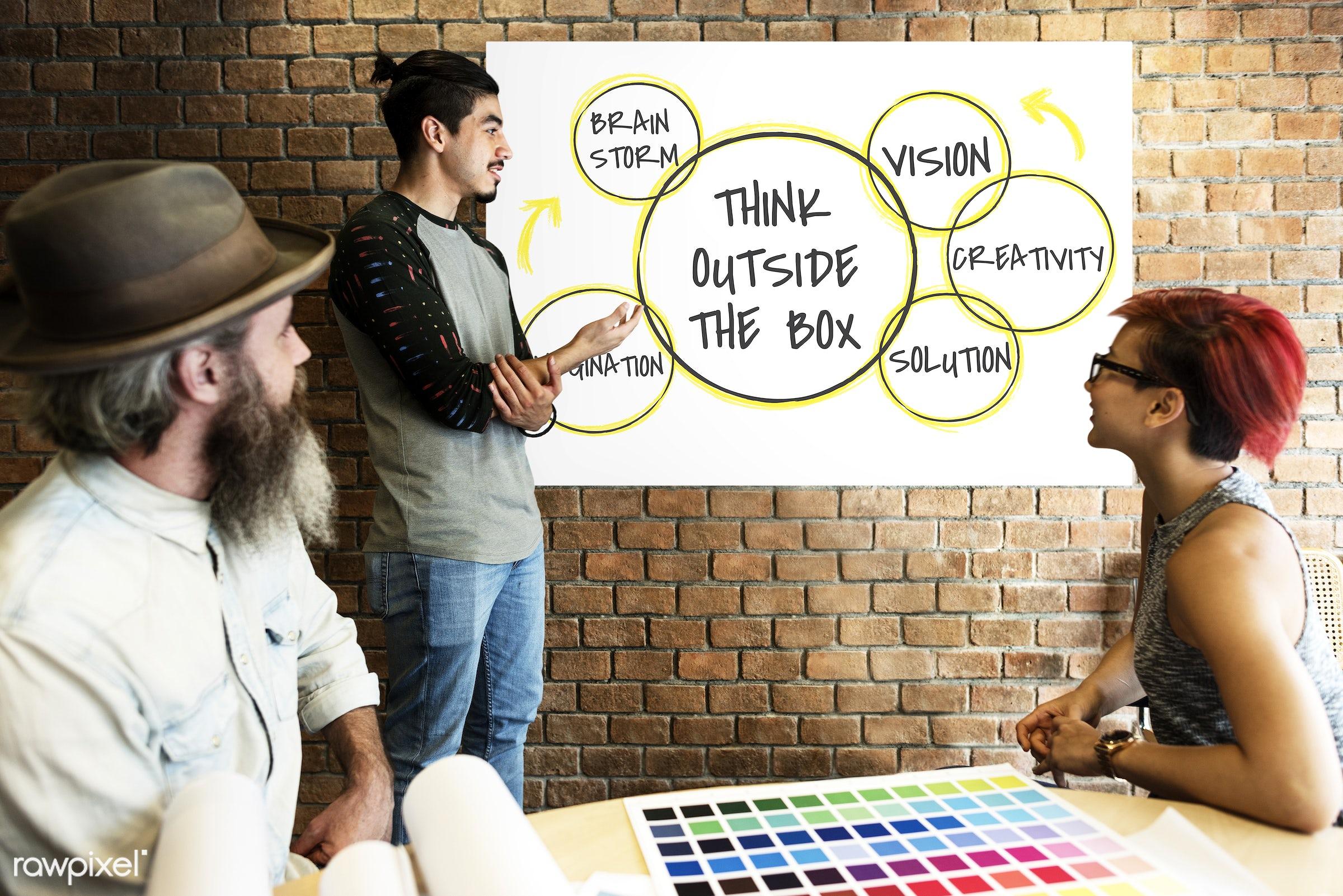 art, beard, board, brainstorm, brick wall, business, chart, color chart, colors, company, creativity, design, development,...