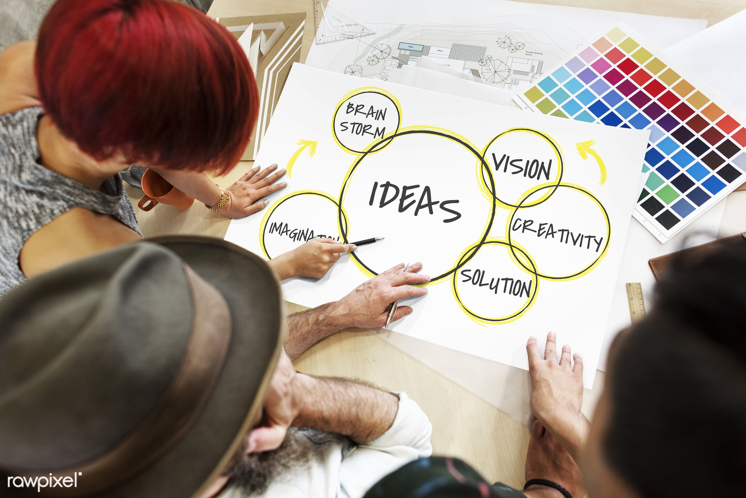 art, brainstorm, color chart, colors, creative, creativity, design, development, diagram, direction, discussion, female,...