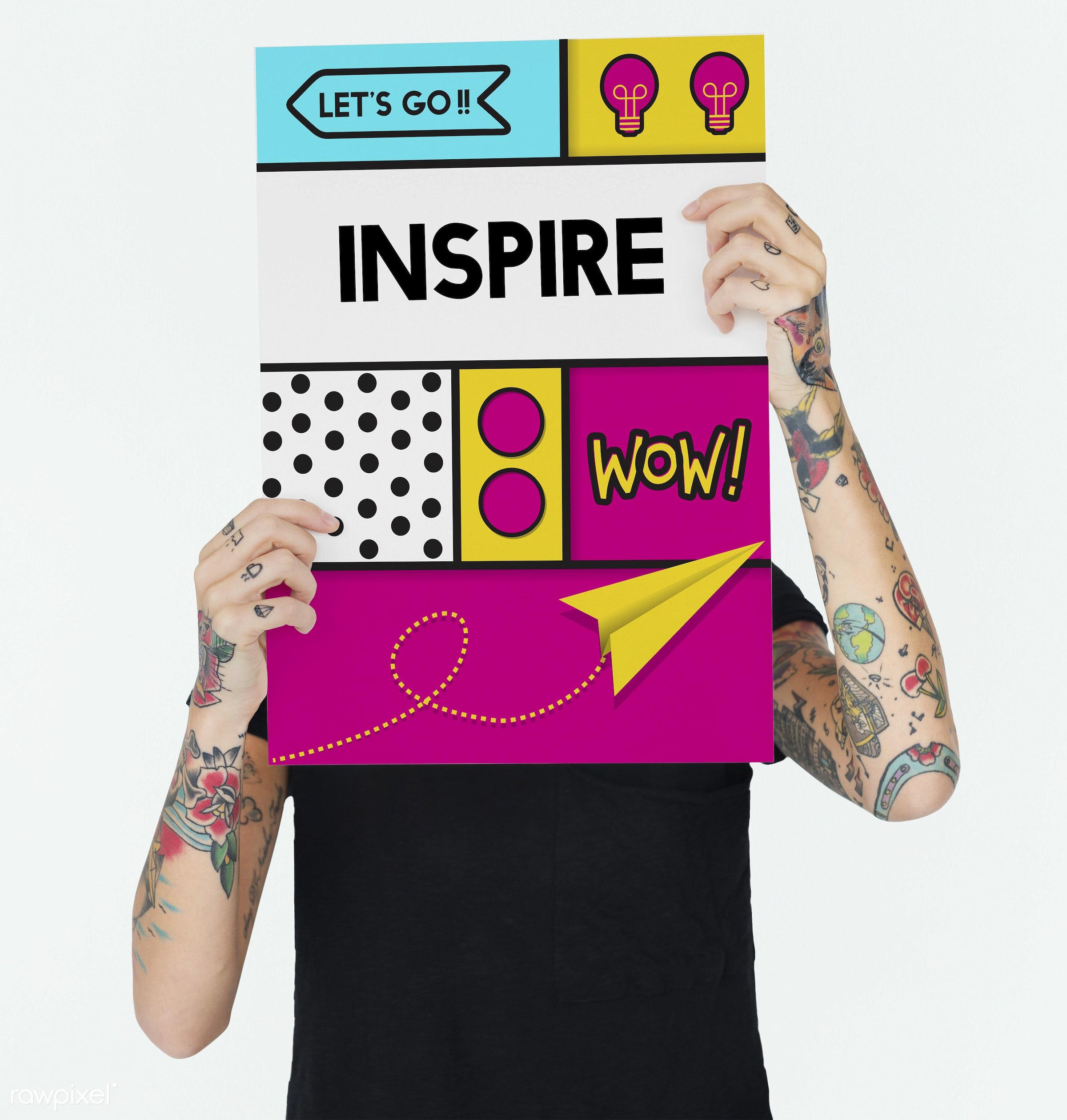 Inspire - arms, be creative, black shirt, blonde, blonde hair, body paint, caucasian, concept, creativity, design, fashion,...