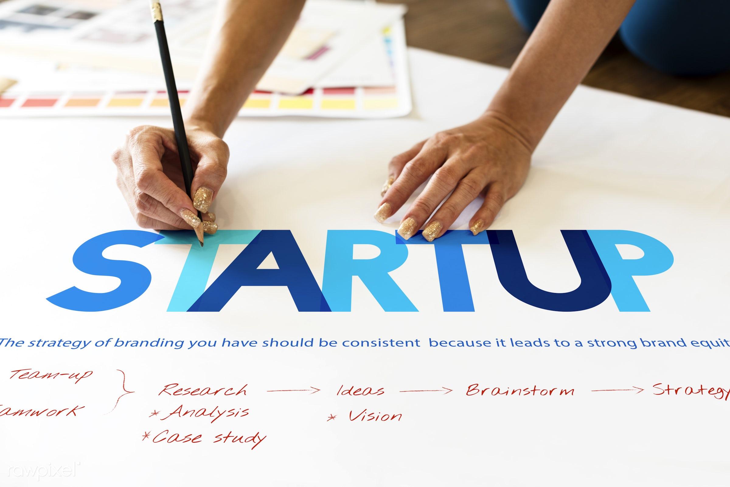 Startup - startup, brainstorm, creation, inspire, strategy, action, aim, analysis, art, beginning, branding, case study,...