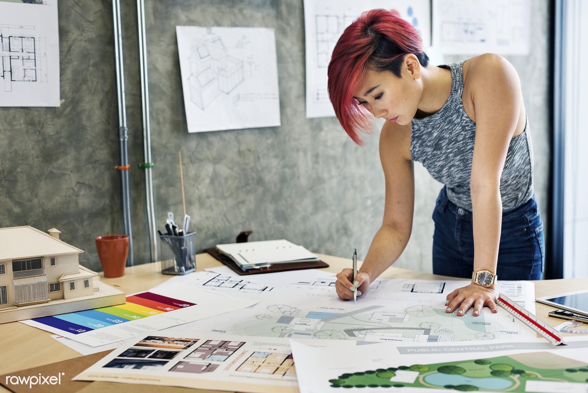 drawing, design, designer, model, office, workspace, architect, architecture, asian ethnicity, blueprint, brainstorming,...