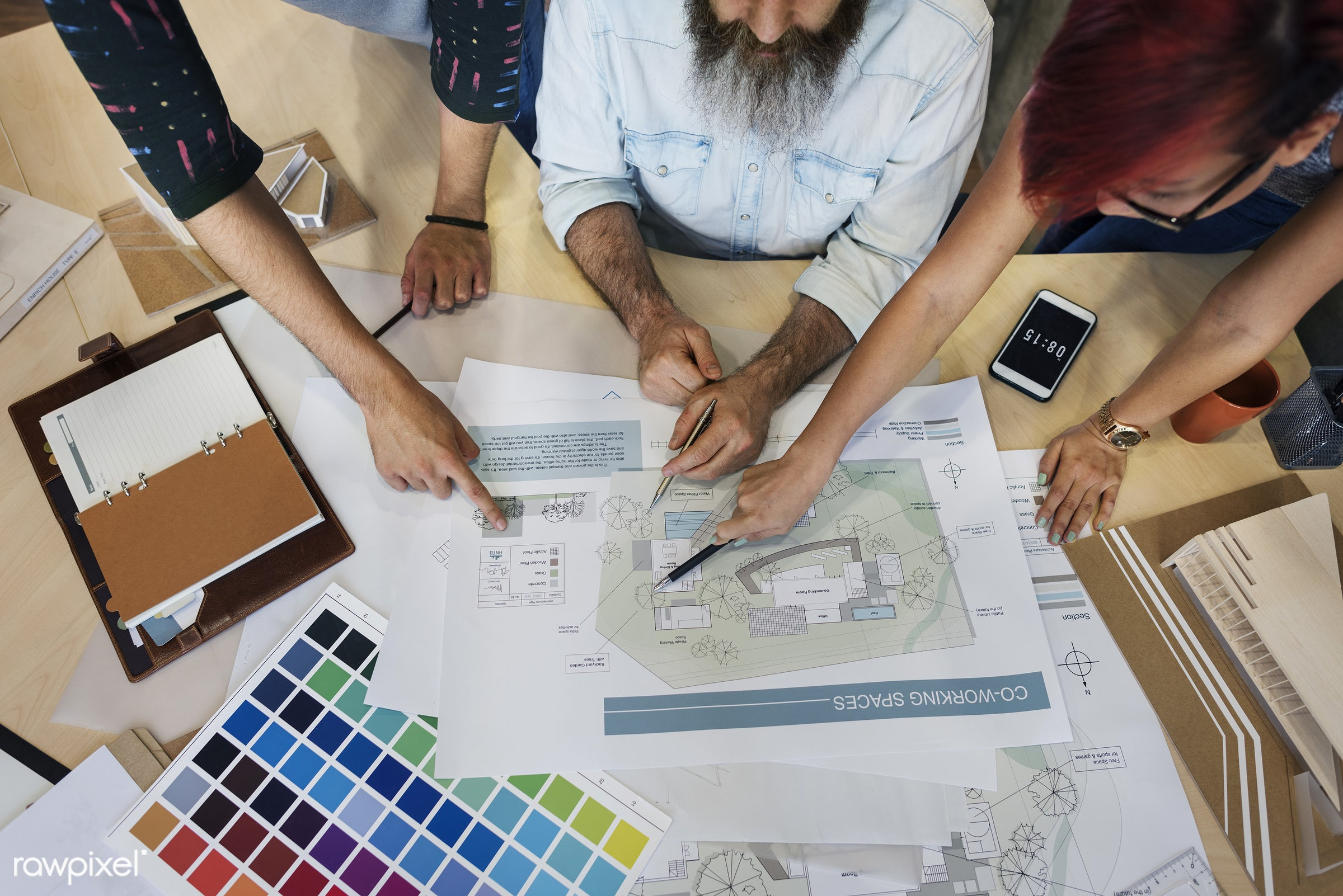 aerial view, architect, architecture, asian ethnicity, assistance, blueprint, brainstorming, color swatch, communication,...