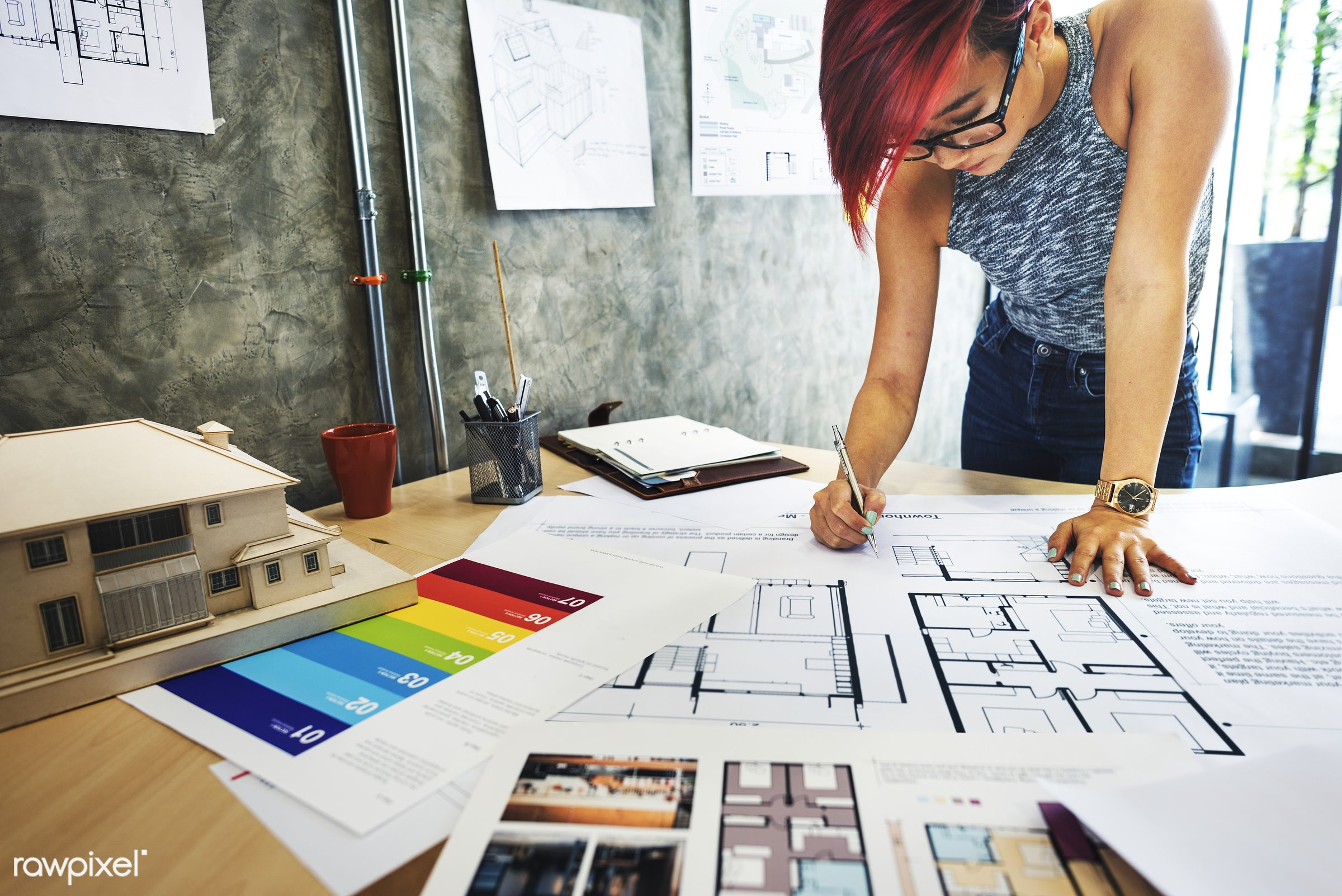 Architect working on a project - architecture, woman, blueprint, architect, asian ethnicity, brainstorming, color swatch,...