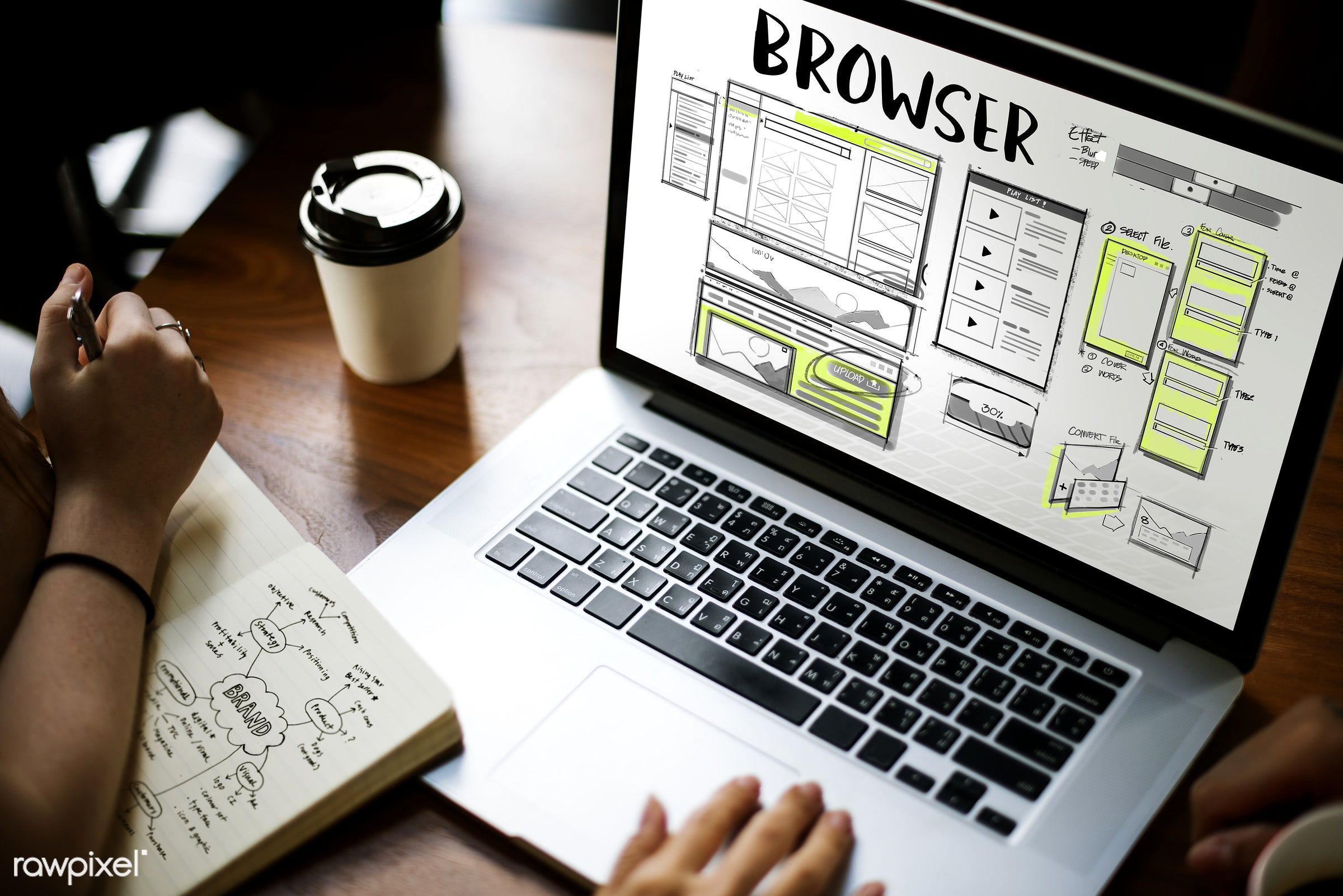 Online browser - coding, layout, work, website, design, sketch, pen, browser, browsing, coffee cup, content, develop, device...