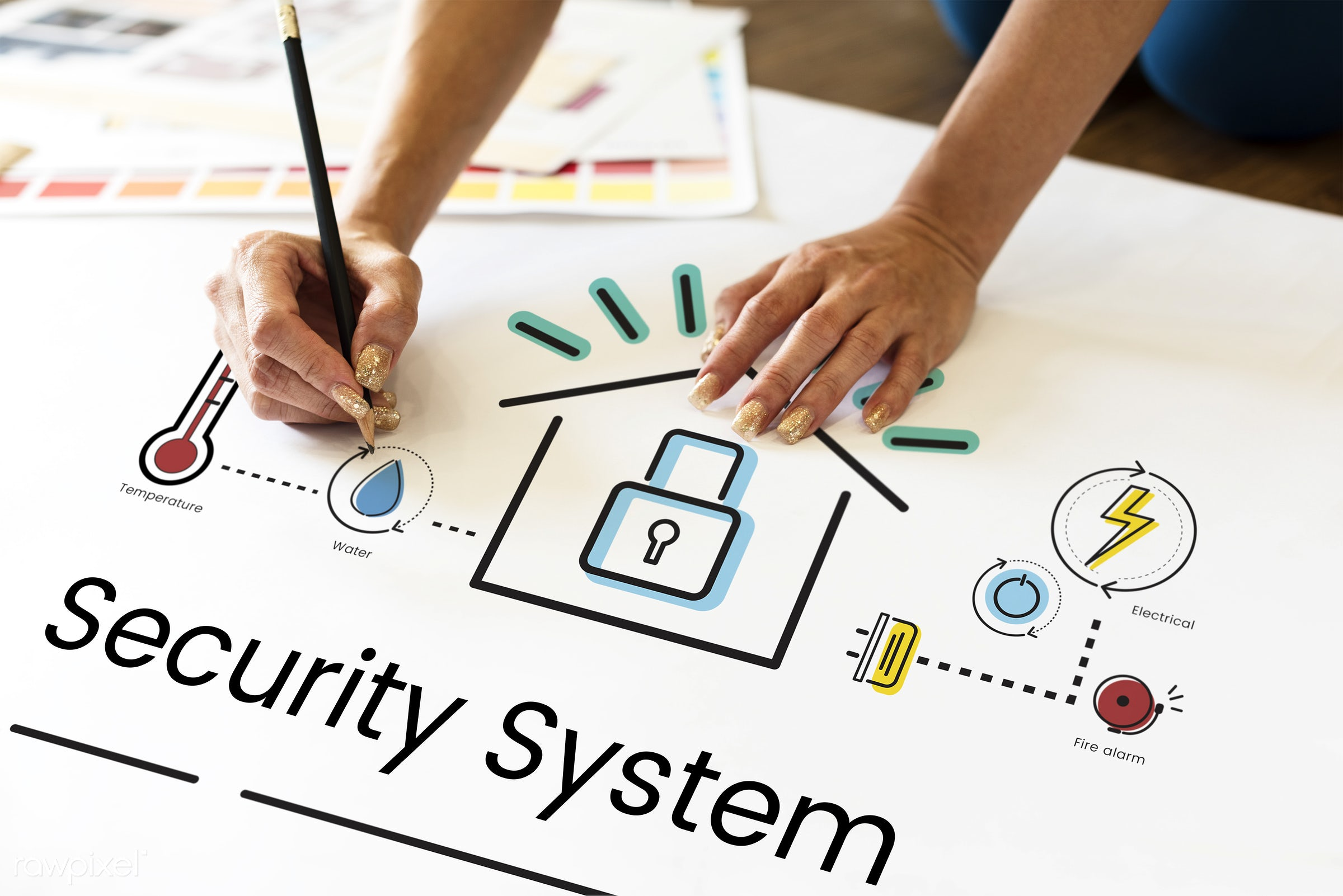 Security system - automation, art, control, creation, creative, creativity, design, drawing, graphic, hands, home, home...