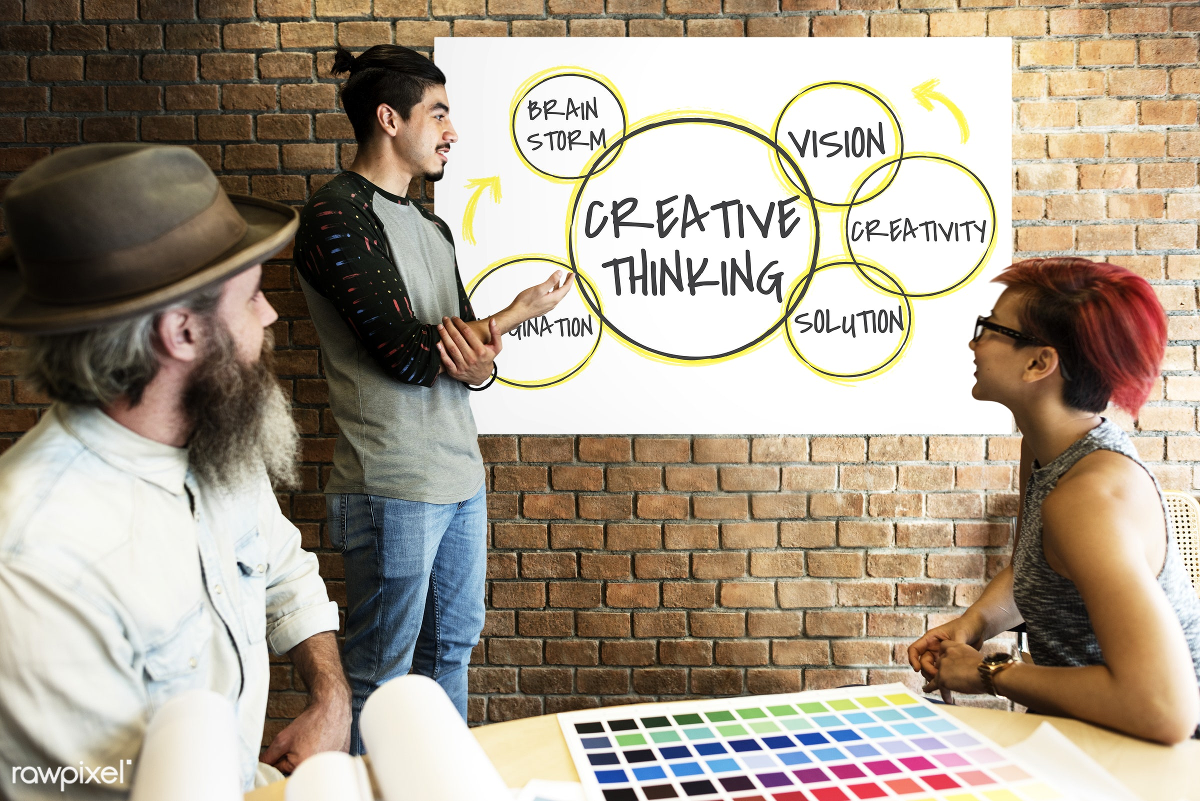 art, be creative, beard, board, brainstorm, brick wall, chart, circle, color chart, colors, connection, creative, creative...