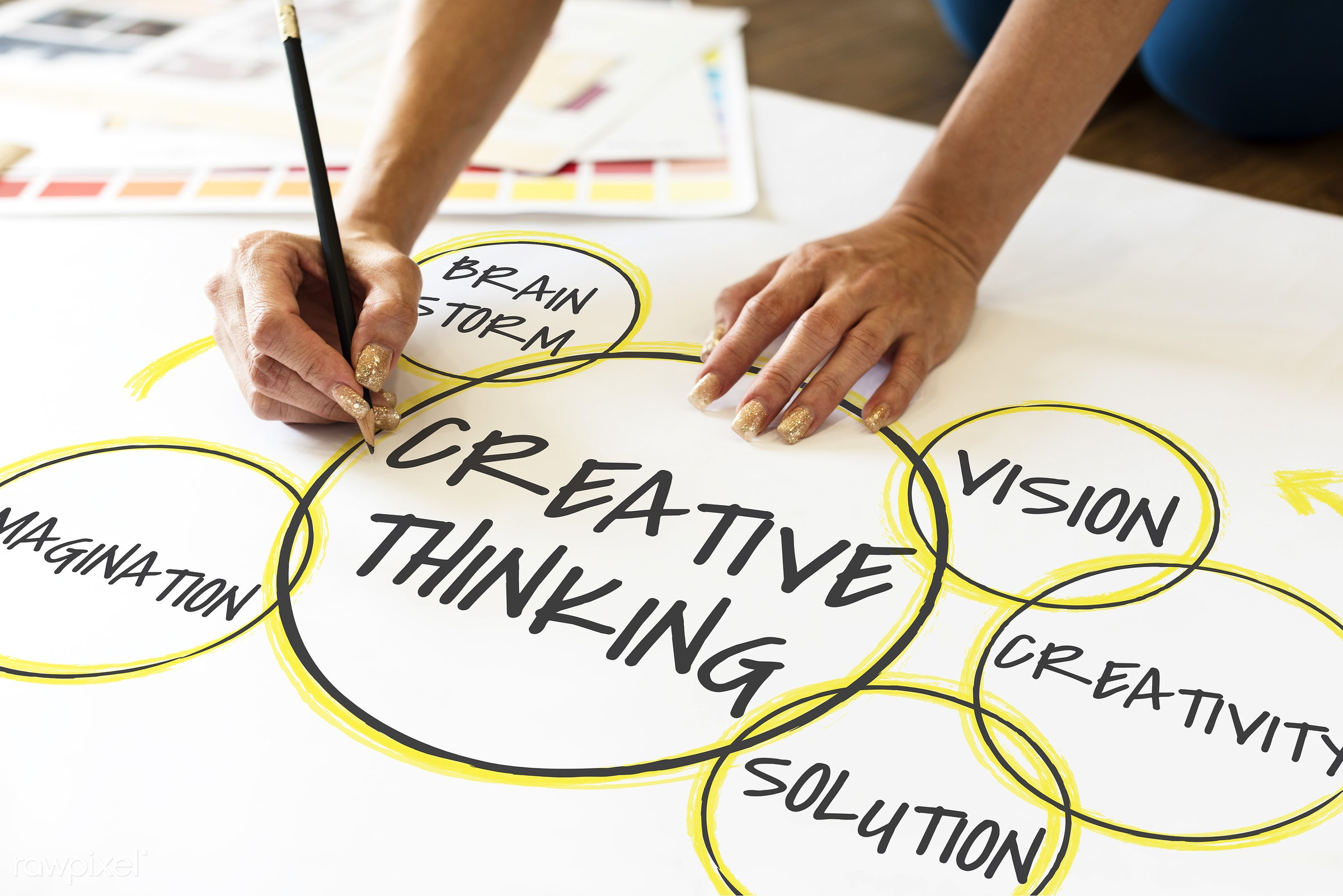 art, be creative, brainstorm, circle, connection, creation, creative, creative thinking, creativity, design, drawing, hands...