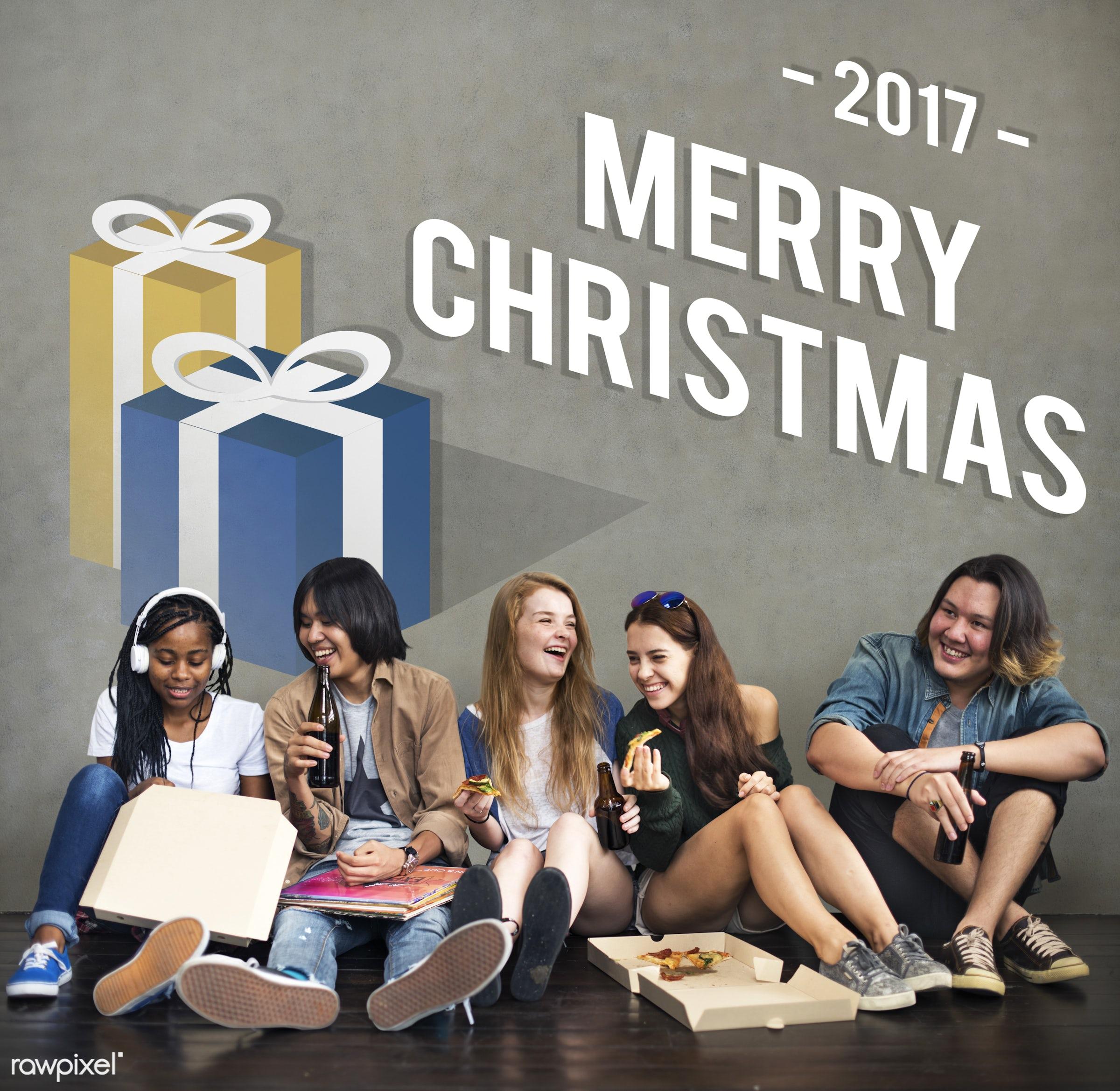 african descent, asian, best wishes, caucasian, celebration, christmas, confetti, decoration, diversity, enjoyment, friends...