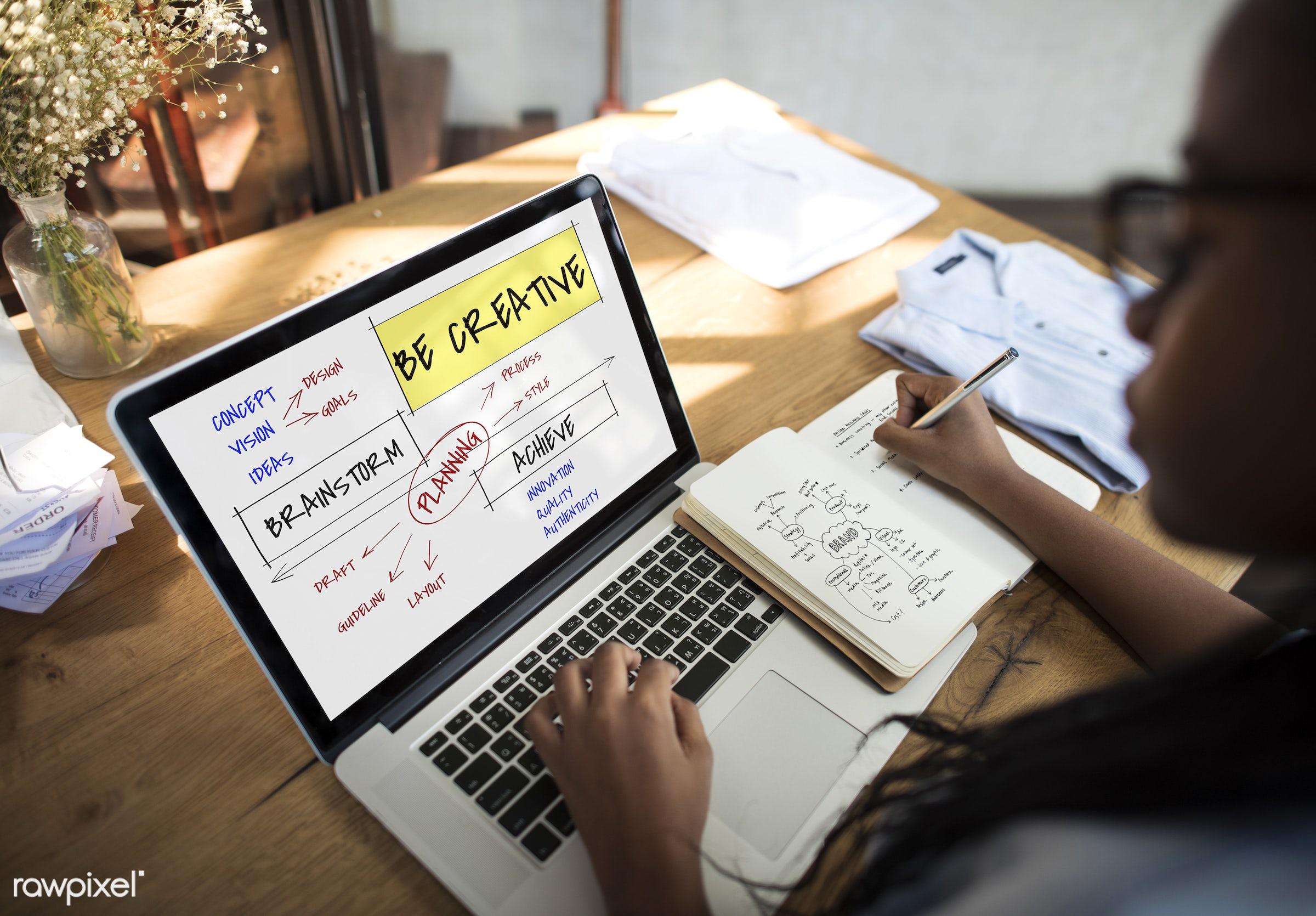 achieve, authenticity, back, be creative, brainstorm, browsing, chart, creative, creativity, design, device, diagram,...