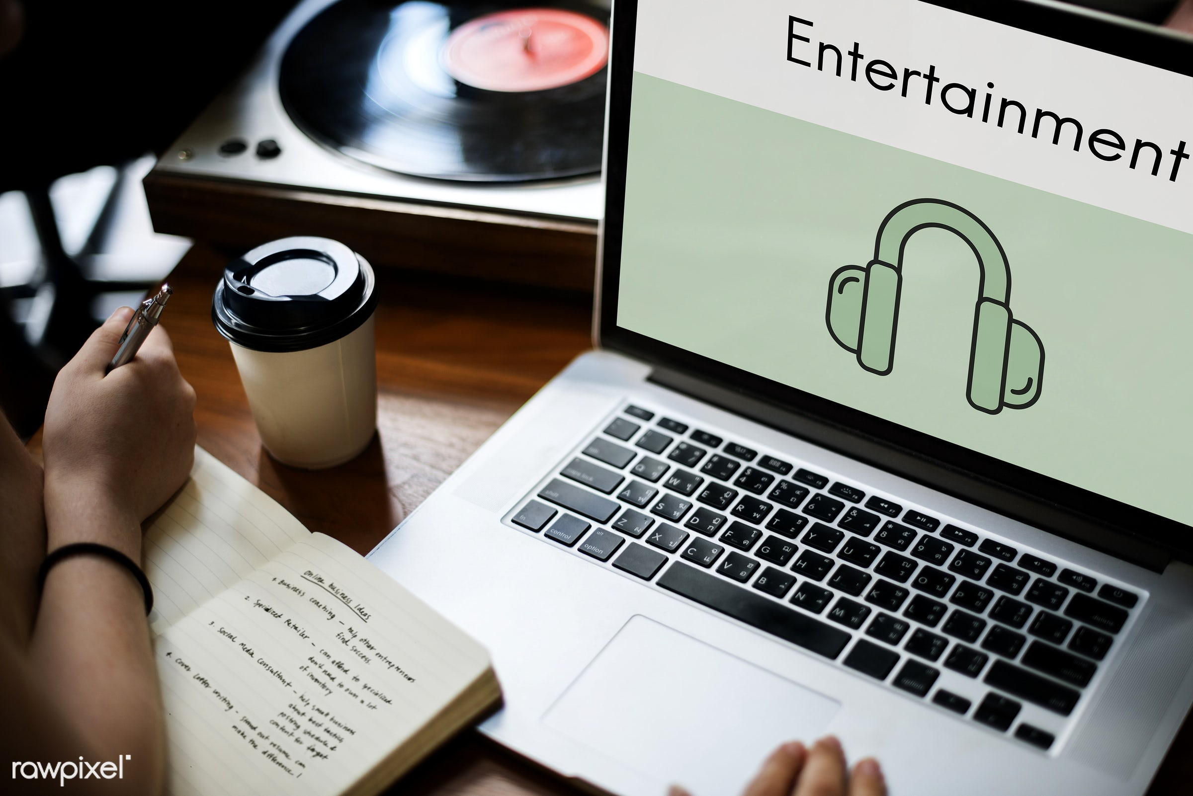 audio, broadcast, browsing, coffee cup, device, digital, digital device, earphones, entertainment, graphics, hands, harmony...