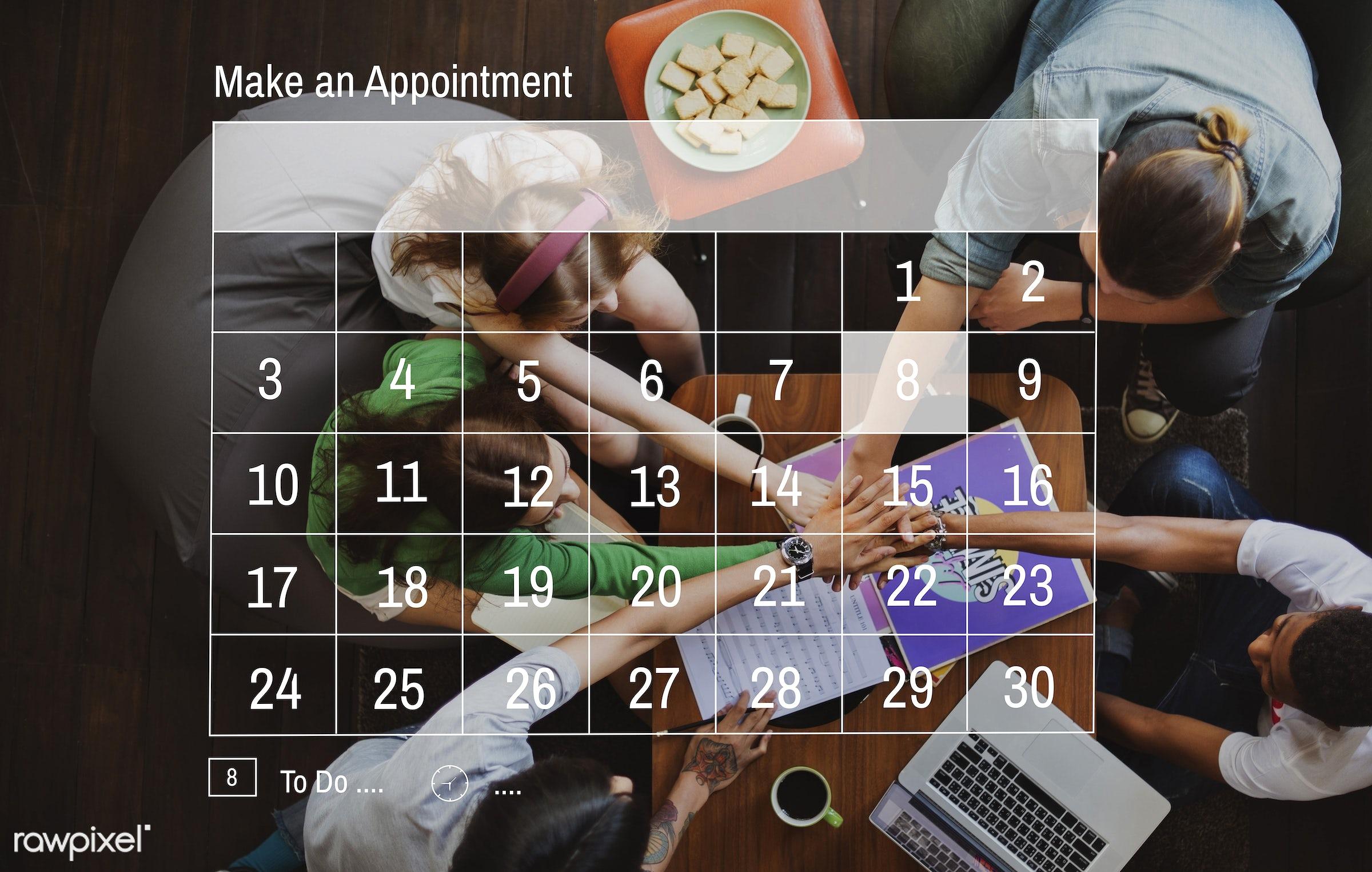 calendar, team, african descent, agenda, appointment, asian, caucasian, community, date, day, deadline, diversity, events,...