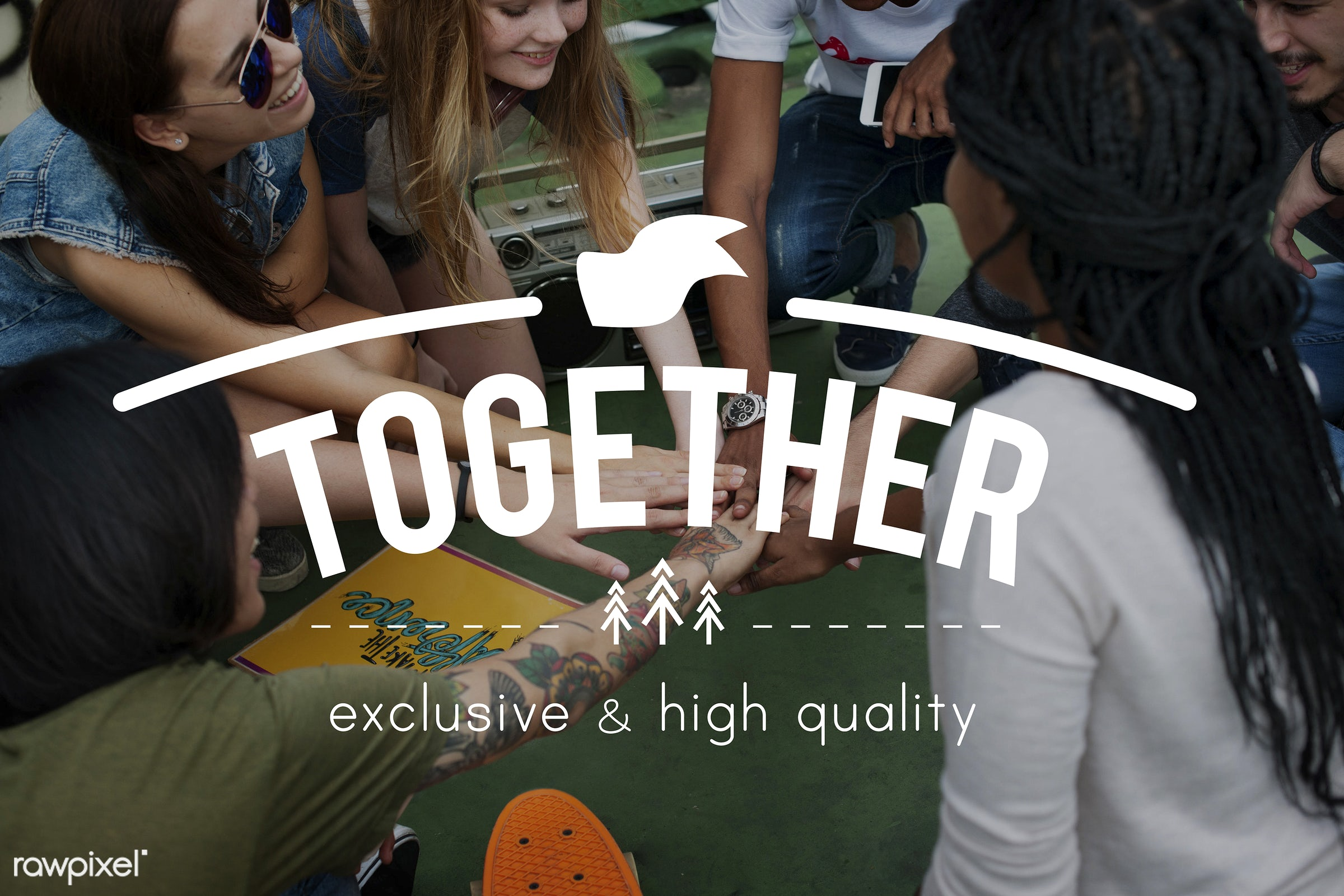 Friends together - harmony, trust, african descent, agreement, alliance, asian, better together, bond, caucasian, coalition...