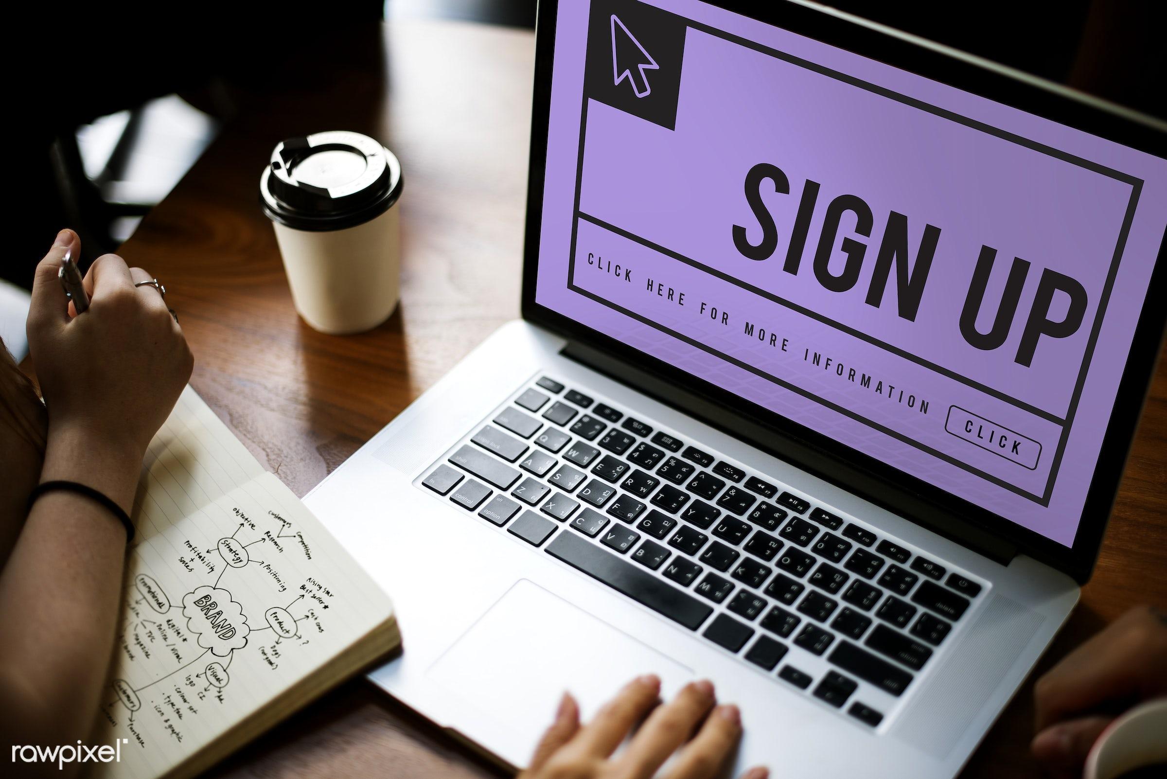 register, account, arrow, browsing, click, coffee cup, cursor, device, digital, digital device, enter, hands, icon,...