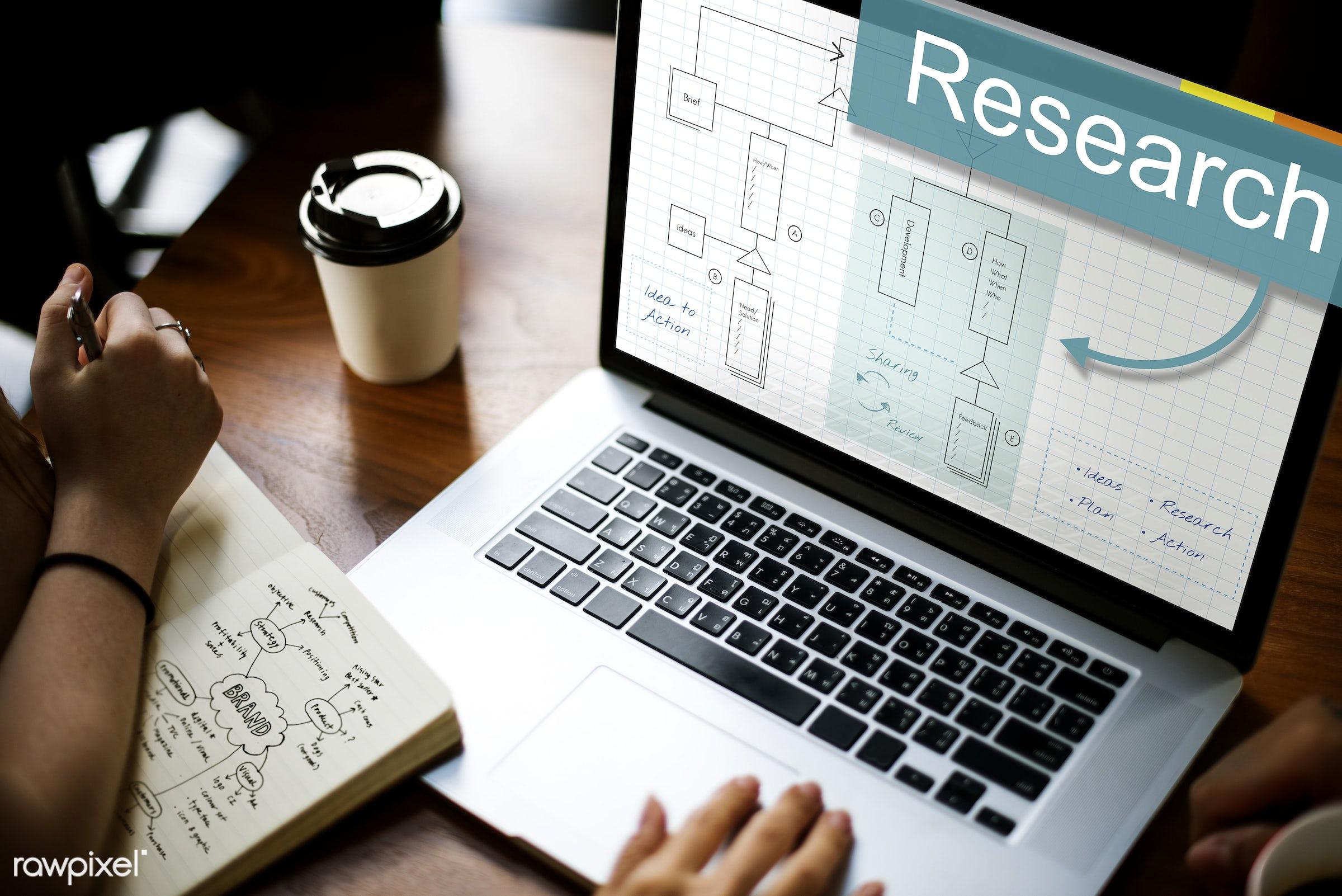action, analysis, brainstorm, browsing, business, coffee cup, data, determine, development, device, diagram, digital,...