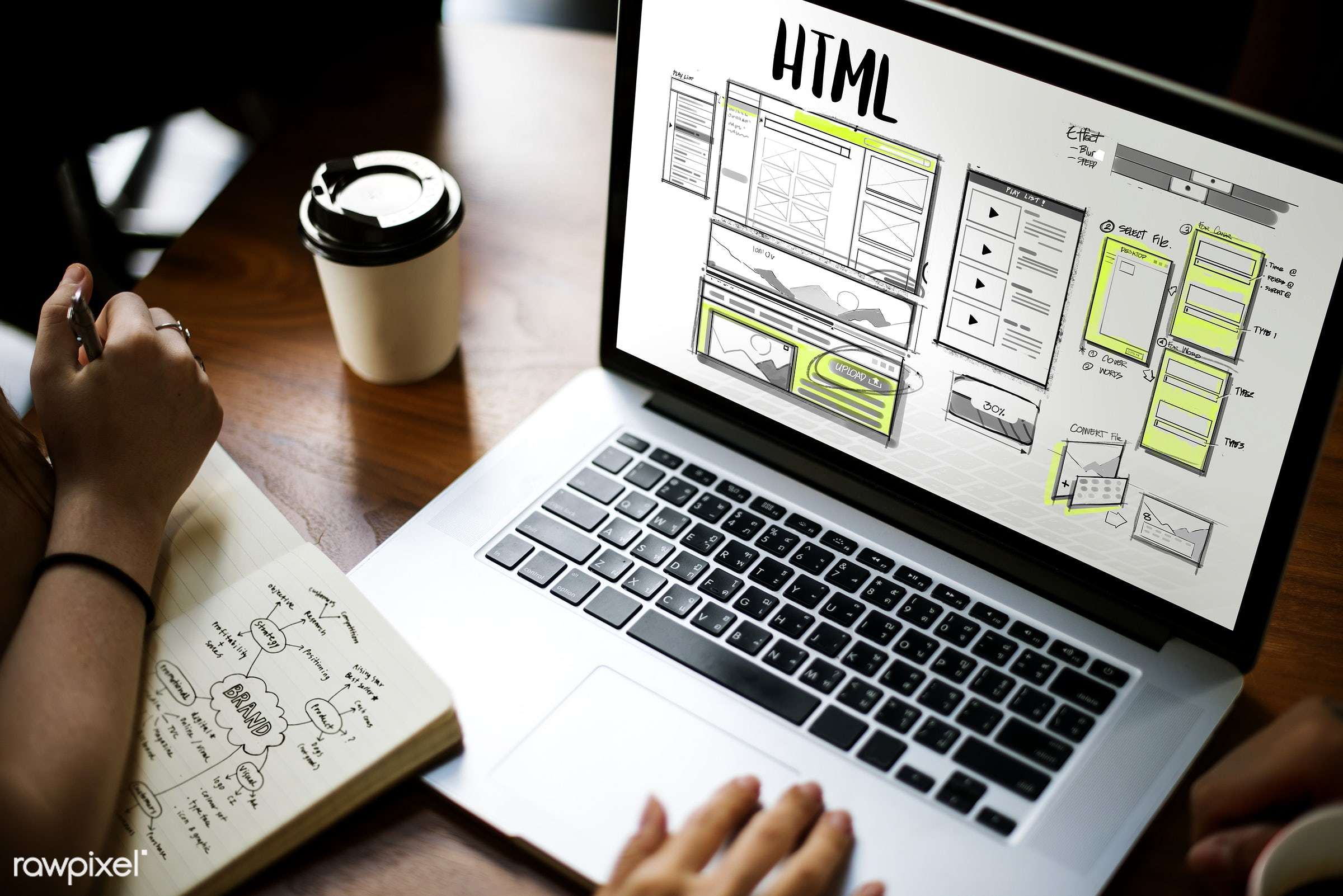 Online web design - content, http, web, browser, browsing, coding, coffee cup, design, develop, device, digital, digital...