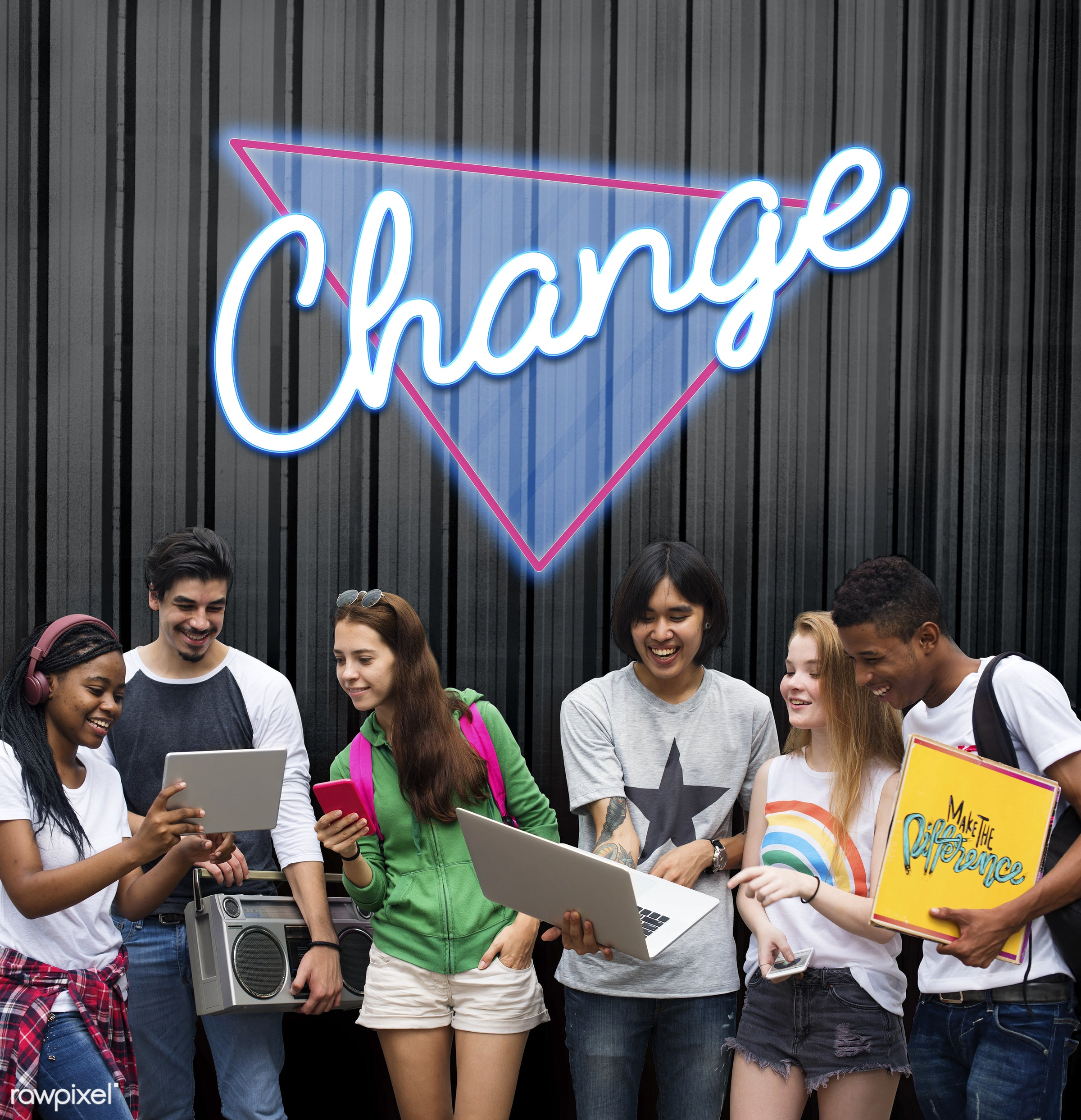 Group of modern young people - change, innovation, motivation, adapting, african descent, asian, caucasian, choice,...