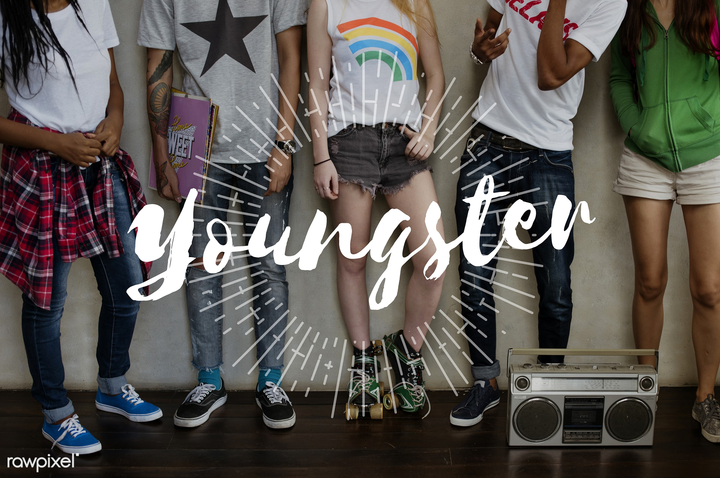 Teenagers with 'youngster' overlay - caucasian, active, african descent, asian, audio, diet, diversity, enjoyment,...