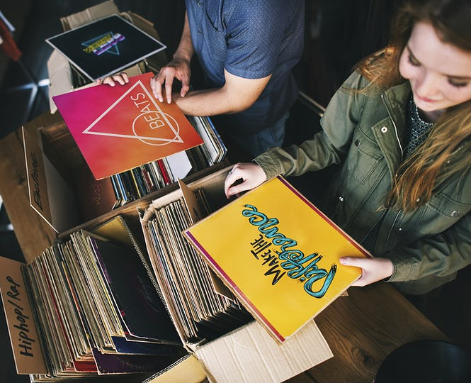Young people in a record shop