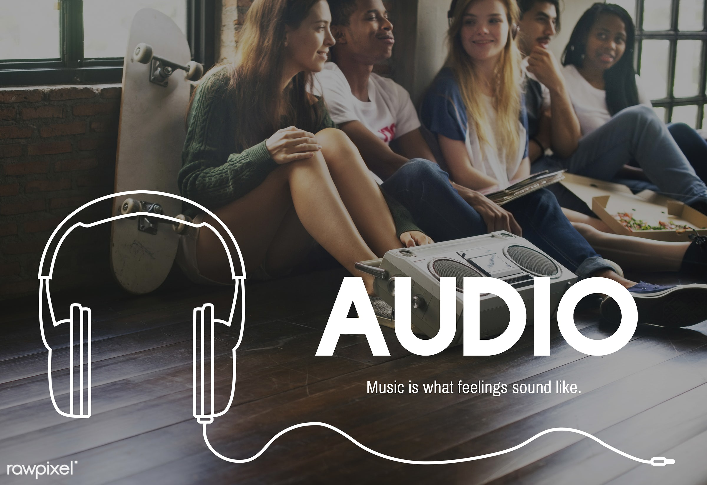 audio, boardcast, digital media, enjoy life, entertain, entertainment, friends, friendship, fun, graphic, hangout, headphone...
