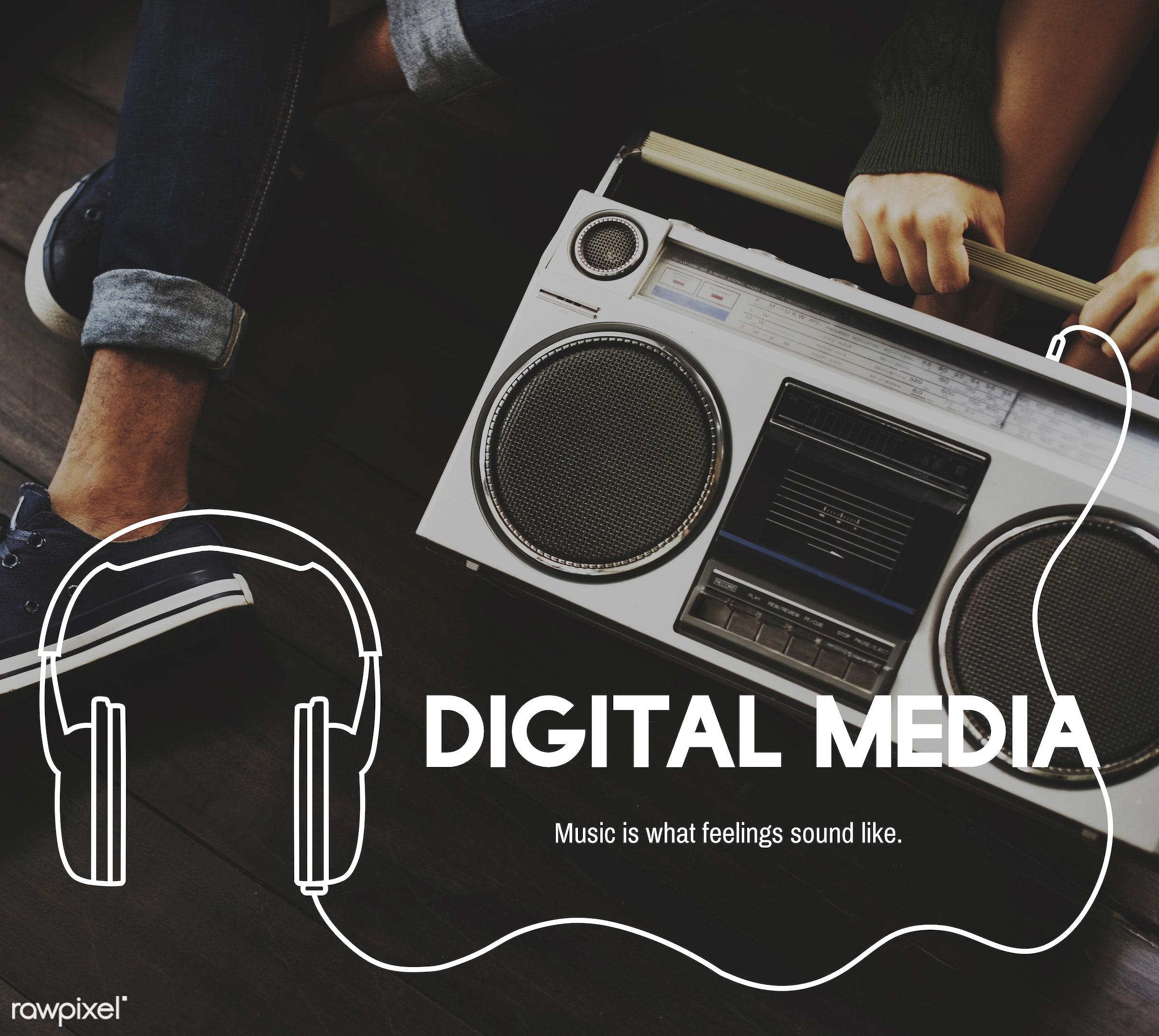 audio, broadcast, chilling, digital media, enjoyment, entertain, entertainment, fun, graphic, headphone, leisure, lifestyle...