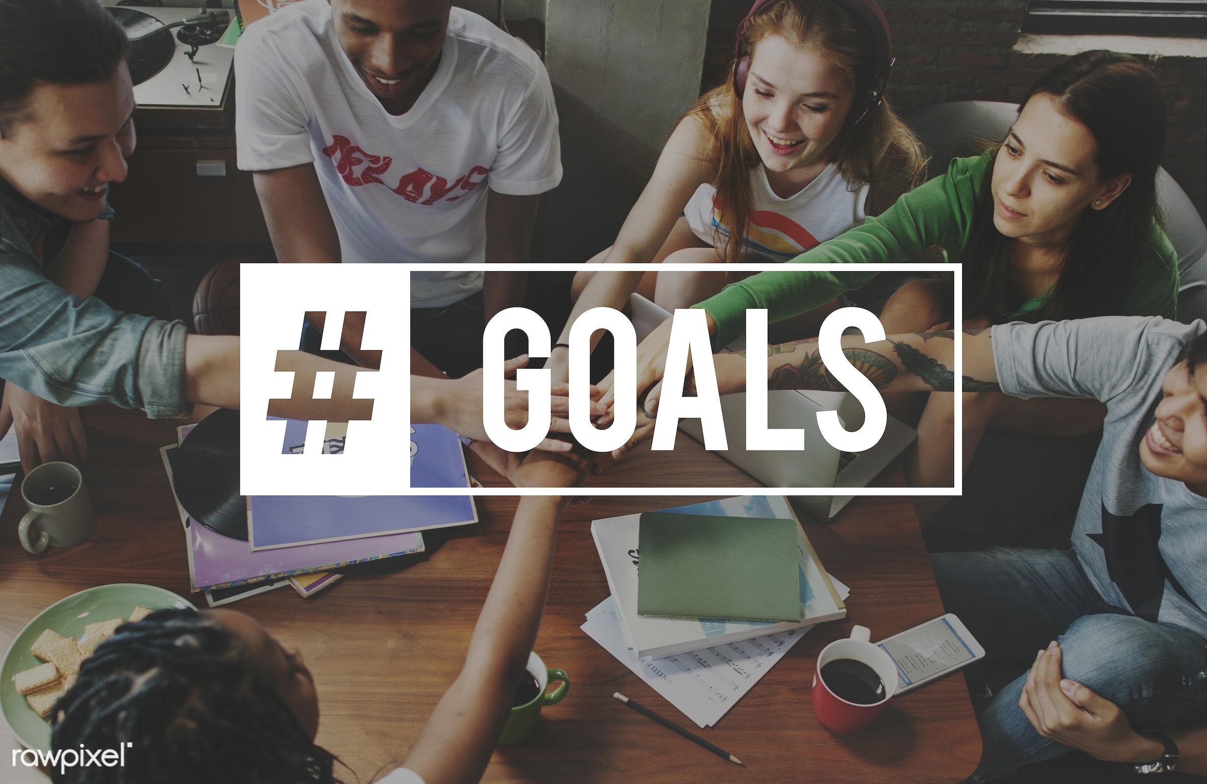 goal, target, teamwork, word, youth, advertising, african descent, aim, asian, aspirations, caucasian, diversity, friends,...