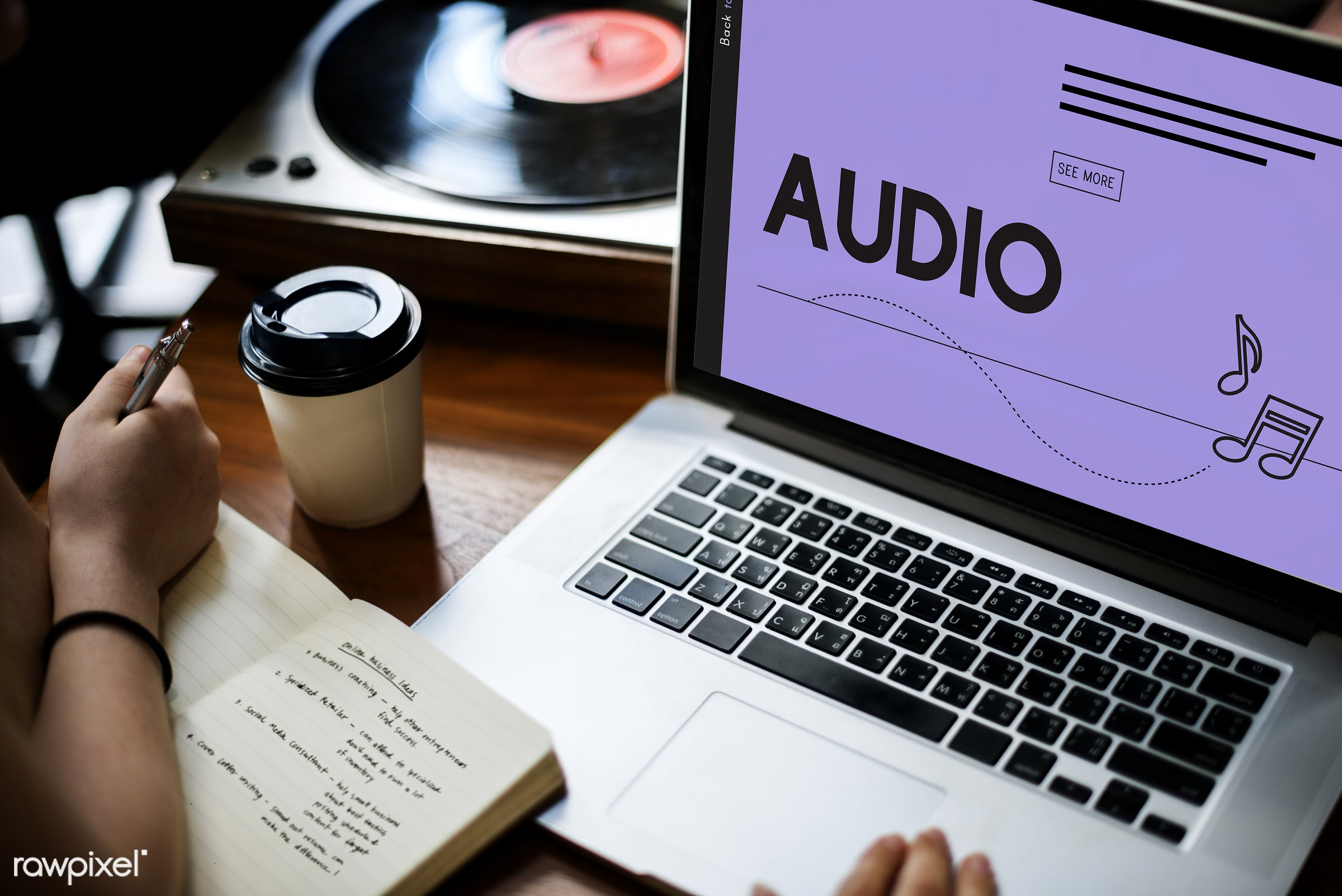 arts, audio, beat, browsing, coffee cup, device, digital, digital device, entertainment, hands, icon, laptop, man, media,...