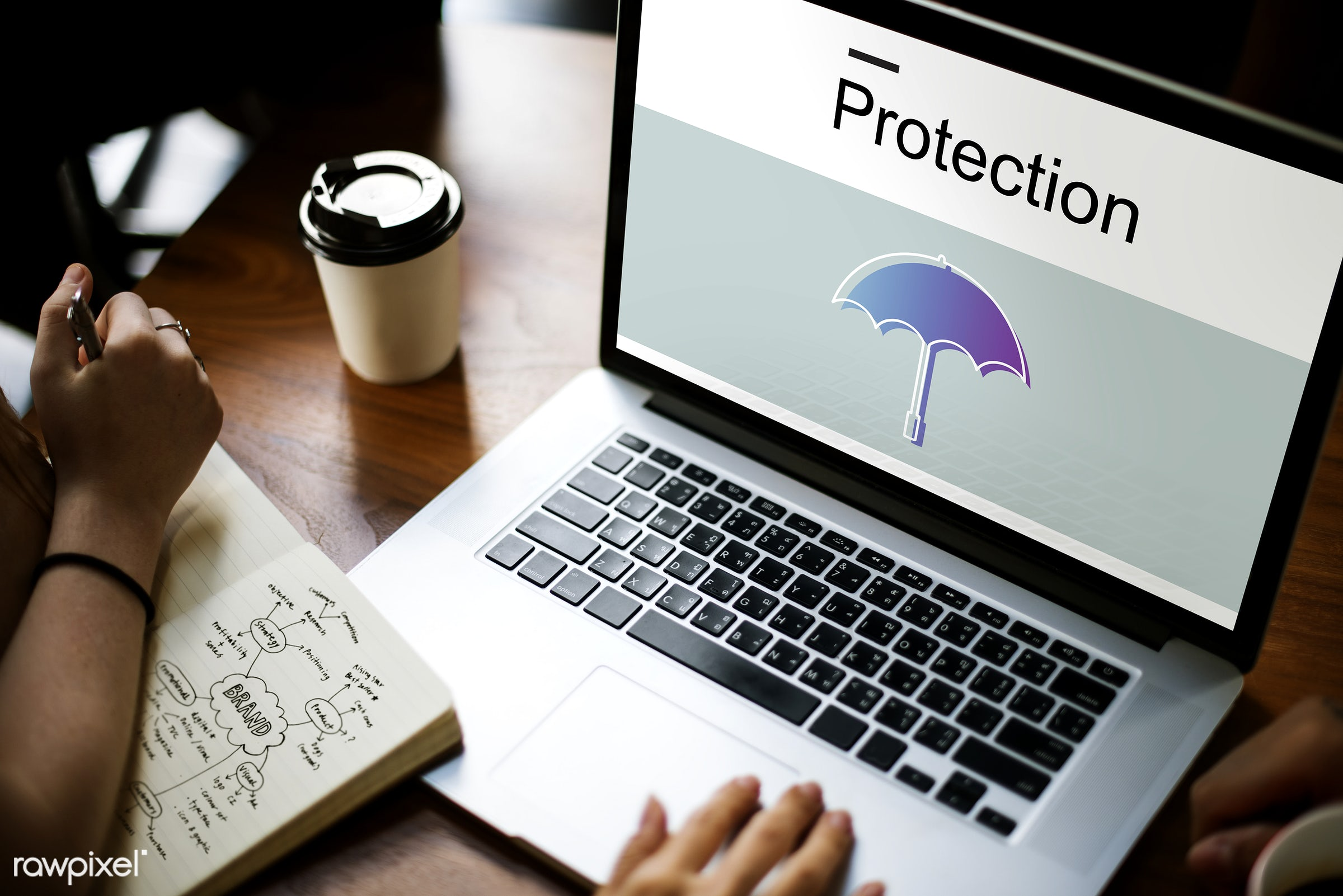Online protection - insurance, guard, assurance, browsing, coffee cup, defend, defense, device, digital, digital device,...