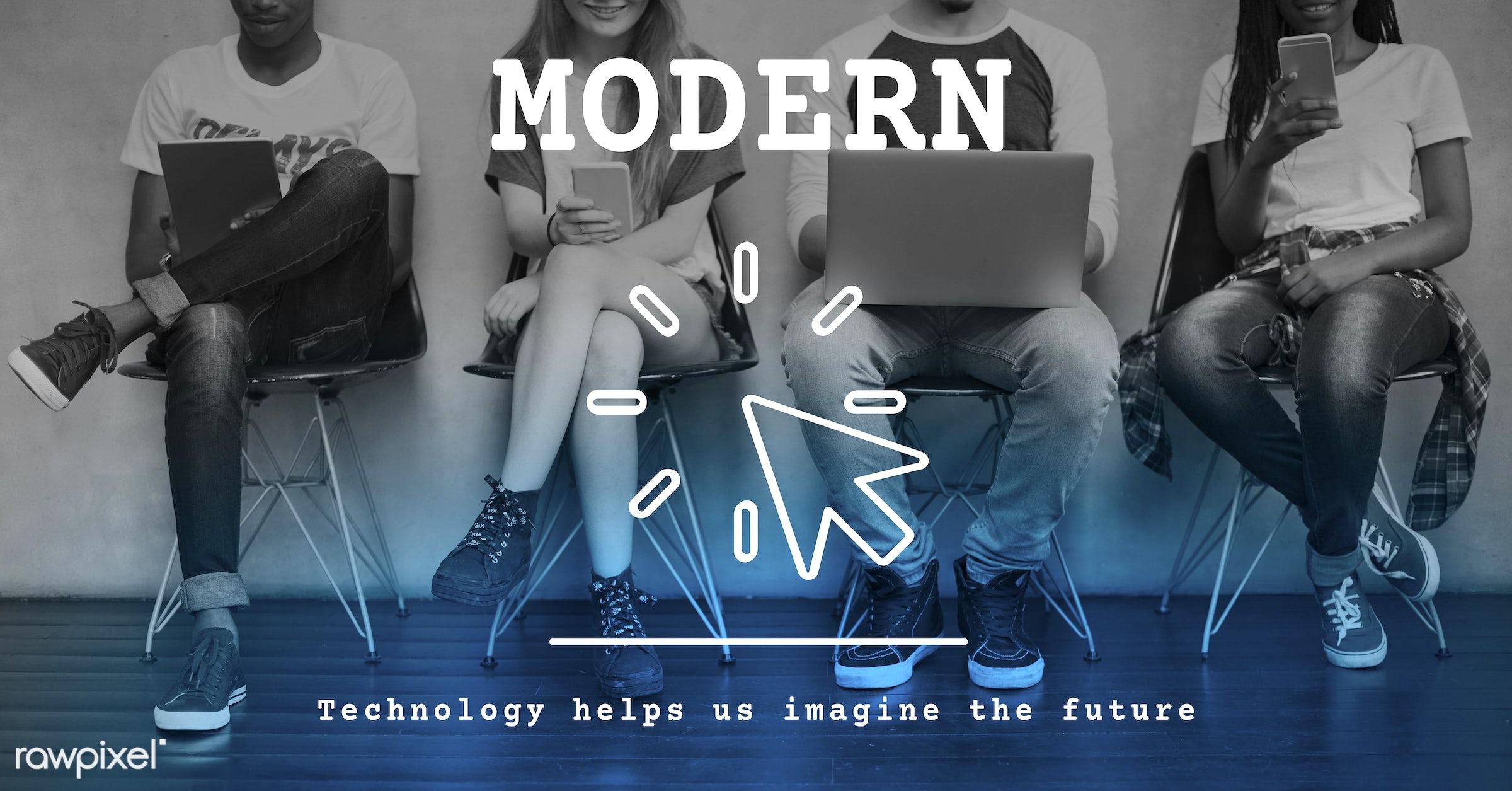 future, tech, web, african descent, asian, caucasian, cellphone, computer, data, devices, digital, digital device, digital...
