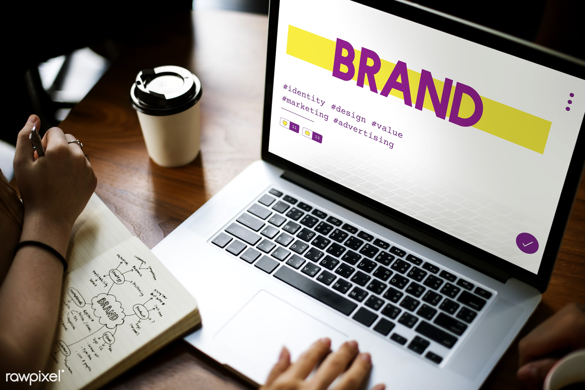 Online marketing - marketing, brand, copyright, advertising, brainstorm, browsing, business, coffee cup, concept,...