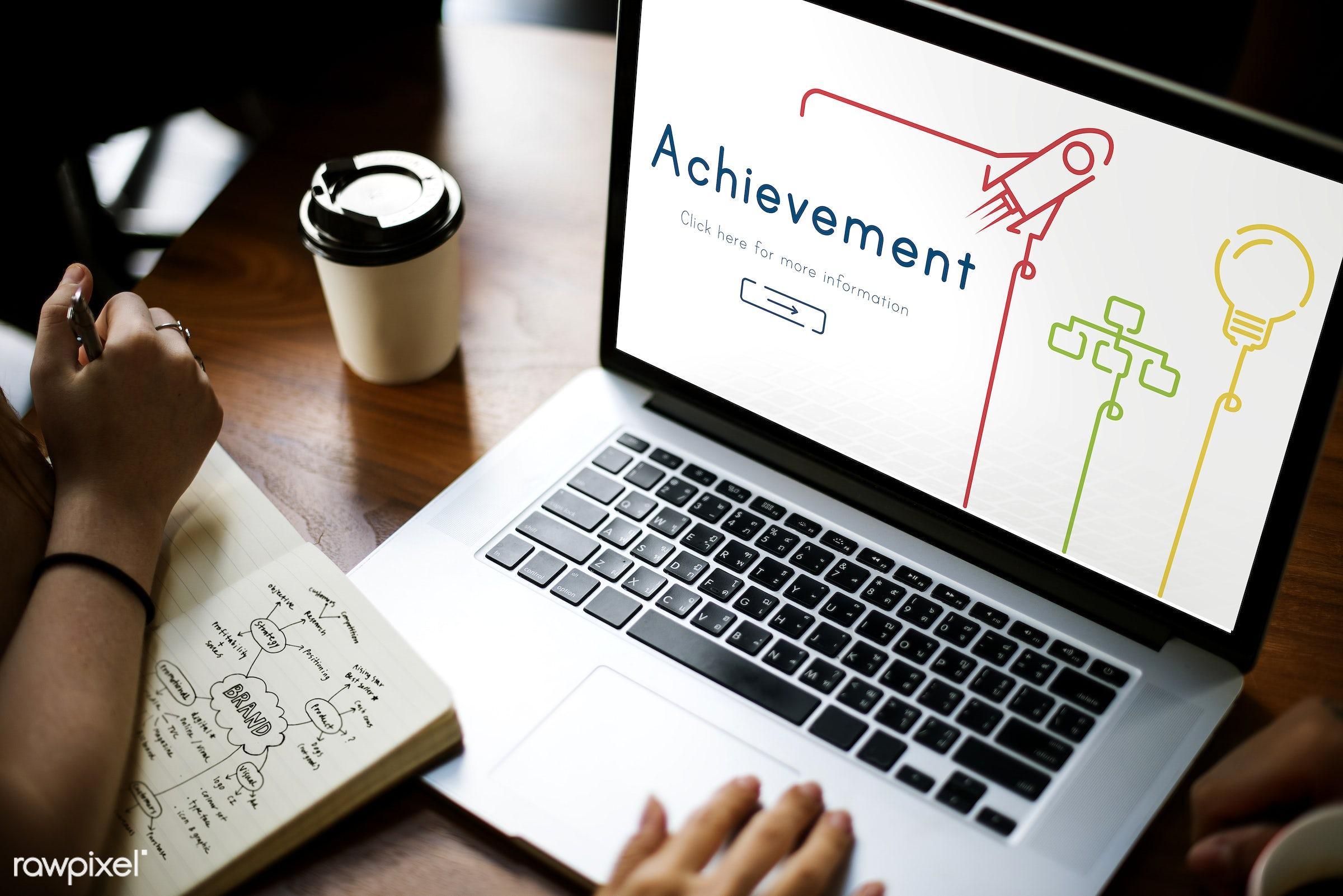 ability, accomplishment, achieve, achievement, browsing, coffee cup, development, device, digital, digital device,...