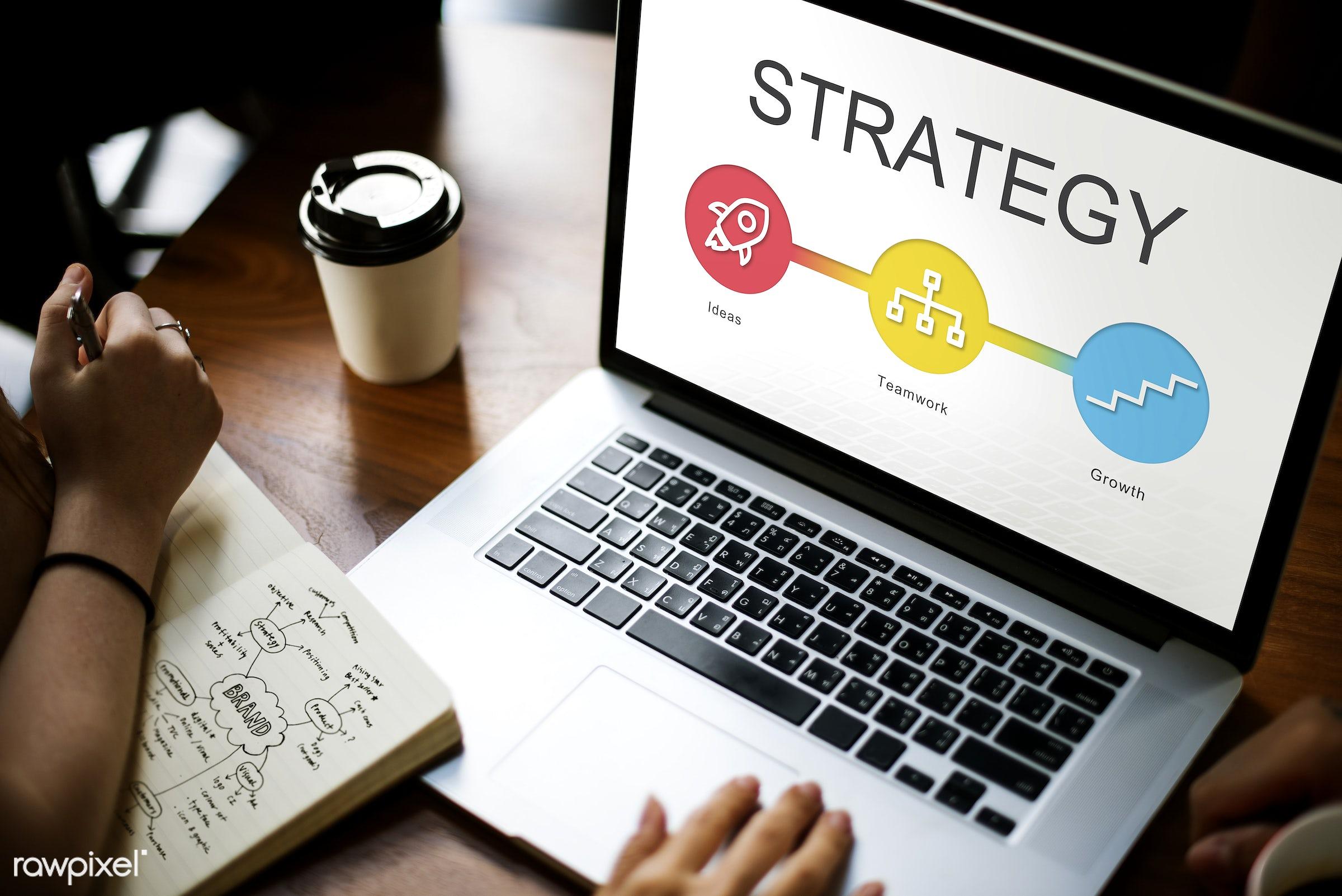achievement, browsing, business, coffee cup, development, device, diagram, digital, digital device, goal, growth, hands,...