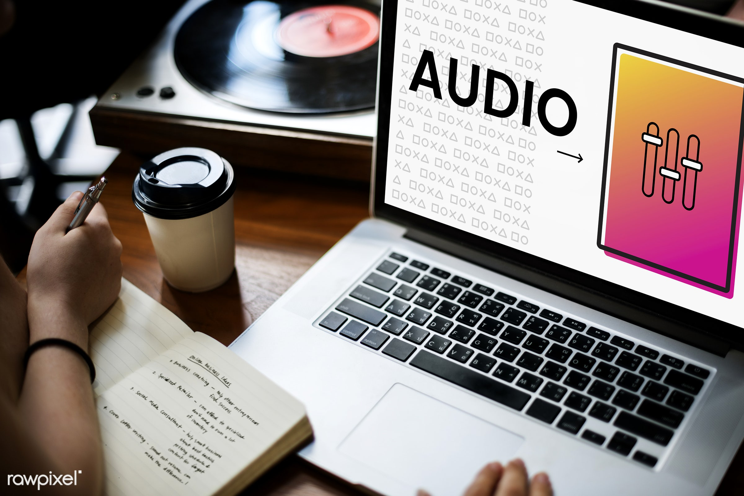 audio, browsing, coffee cup, connection, device, digital, digital device, electric, entertainment, genre, hands, icon,...