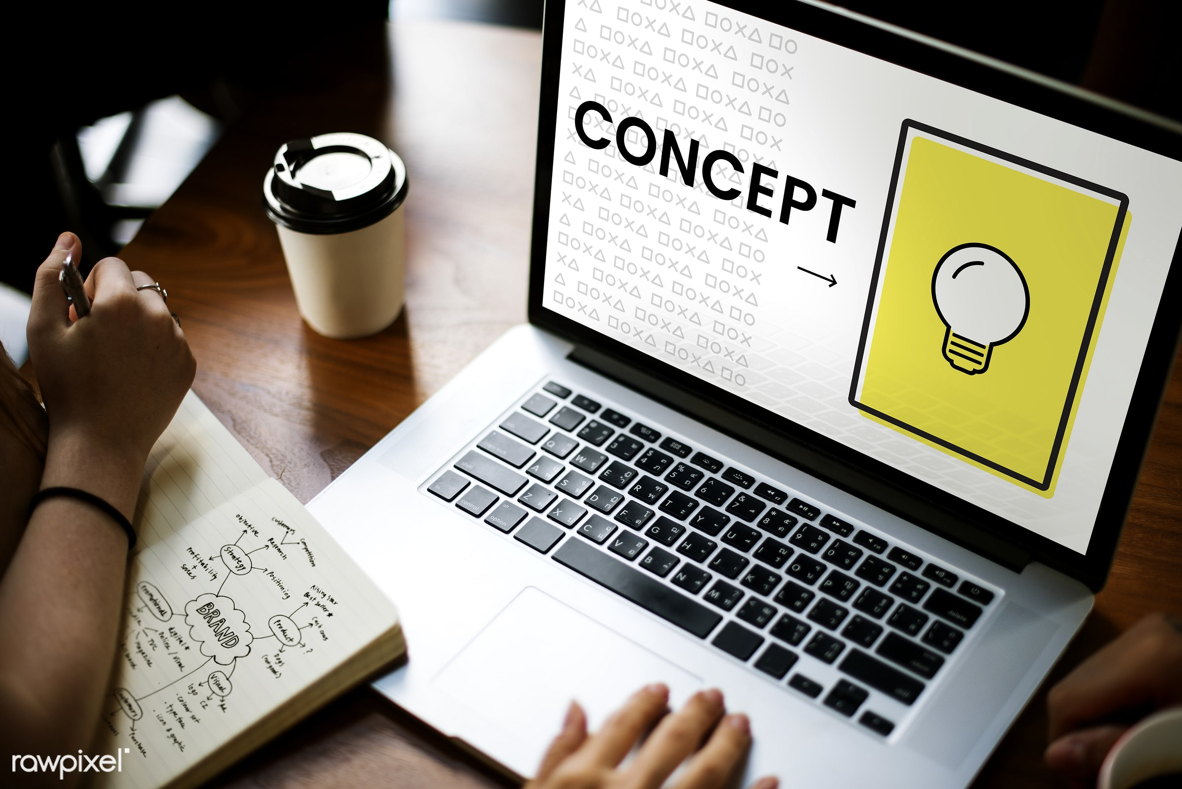 invent, brainy, browsing, business, coffee cup, concept, conceptualise, data, design, device, digital, digital device, hands...