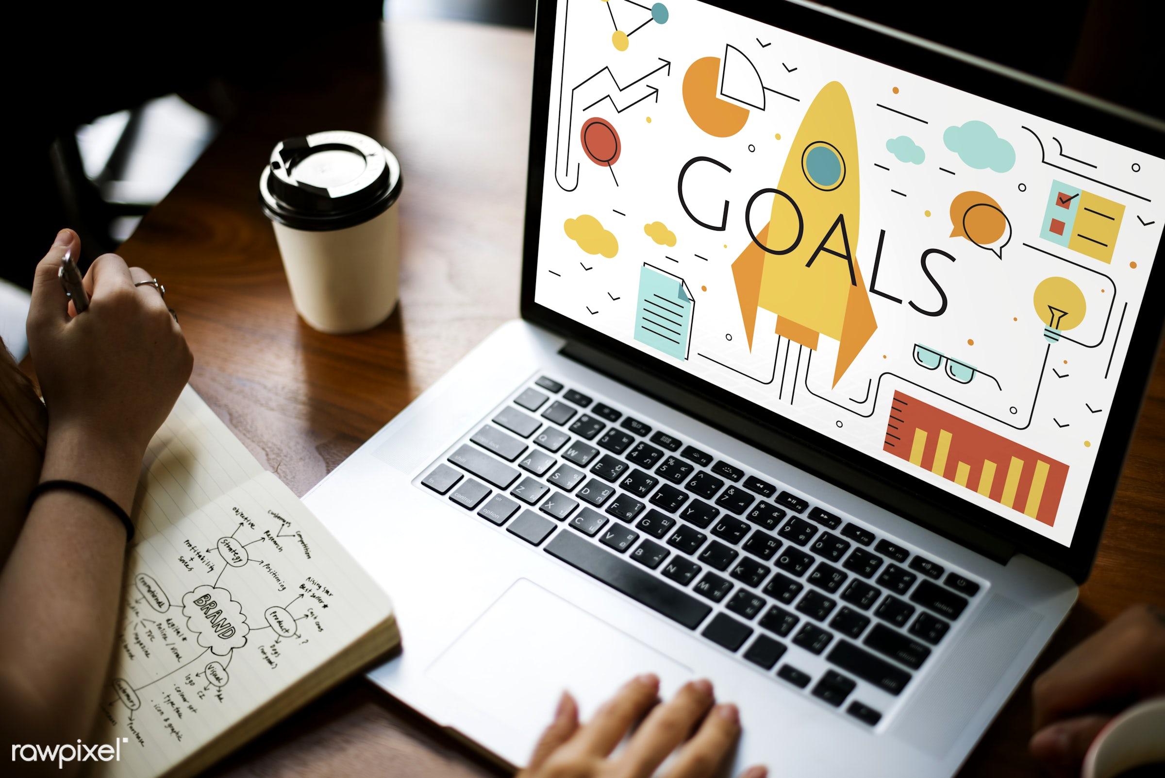 rocket, achievement, aim, analysis, browsing, business, coffee cup, development, device, digital, digital device, goals,...