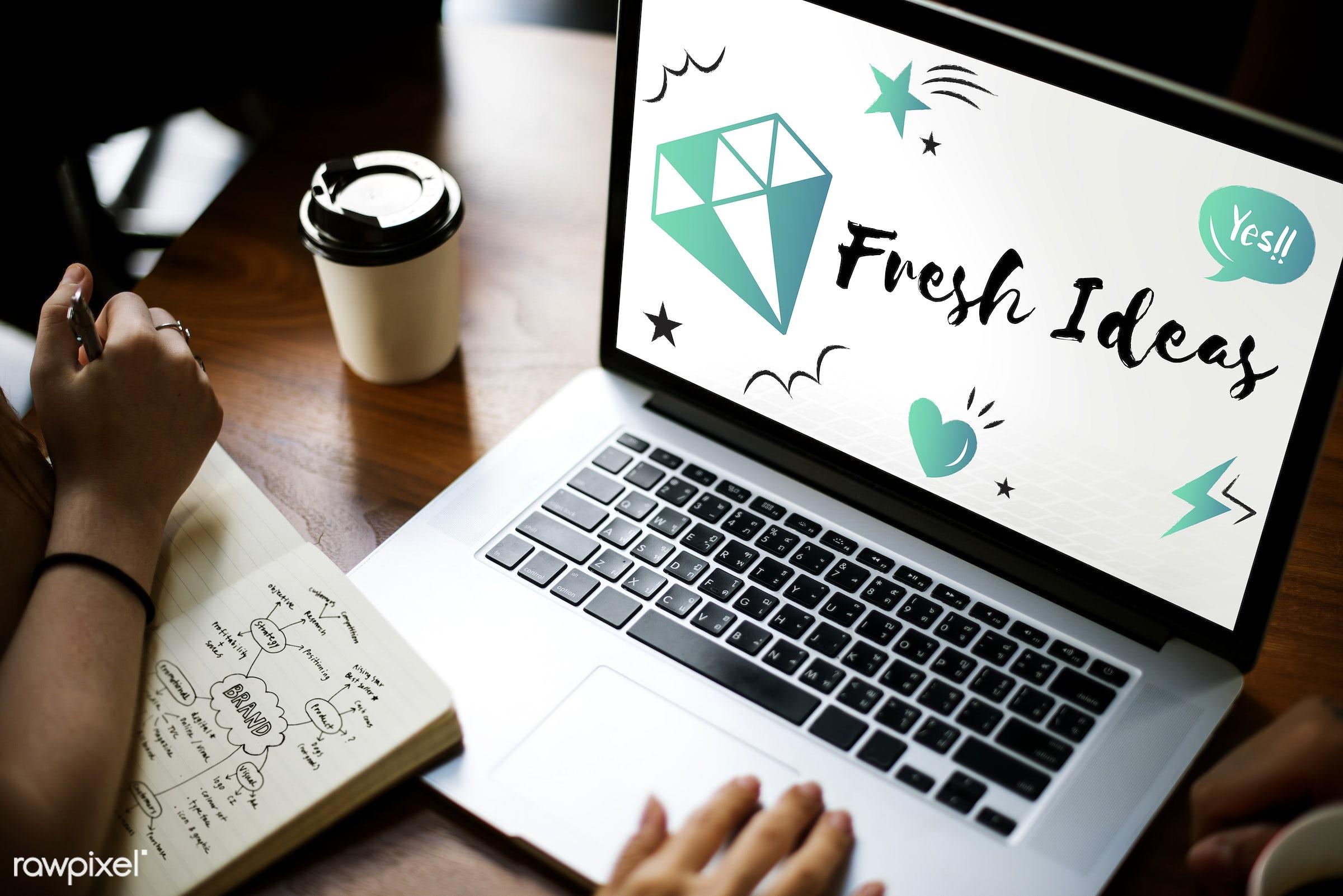 be creative, blueprint, browsing, coffee cup, creative, creativity, design, device, diamond, digital, digital device, draft...