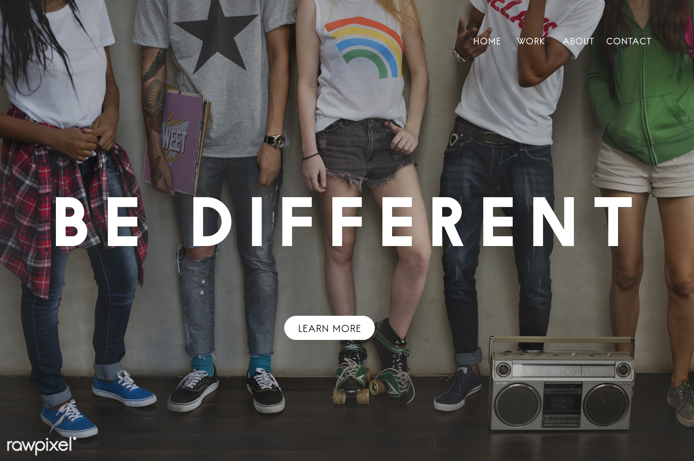 Be different - motivation, african descent, asian, attitude, audio, be different, be positive, caucasian, confidence,...