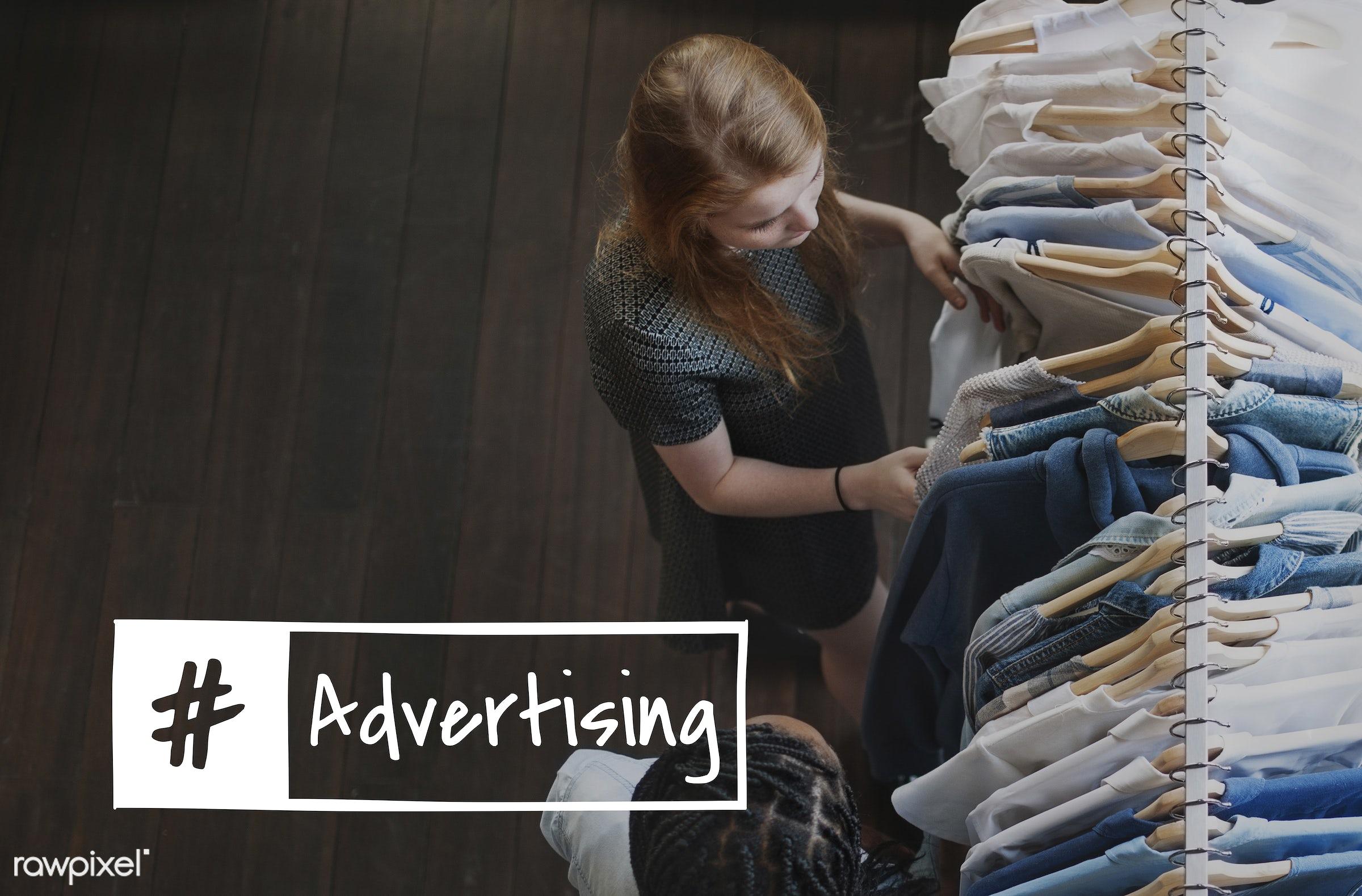 consumer, advertising, business, buyer, adventure, advertise, advertisement, african descent, blue, branding, caucasian,...