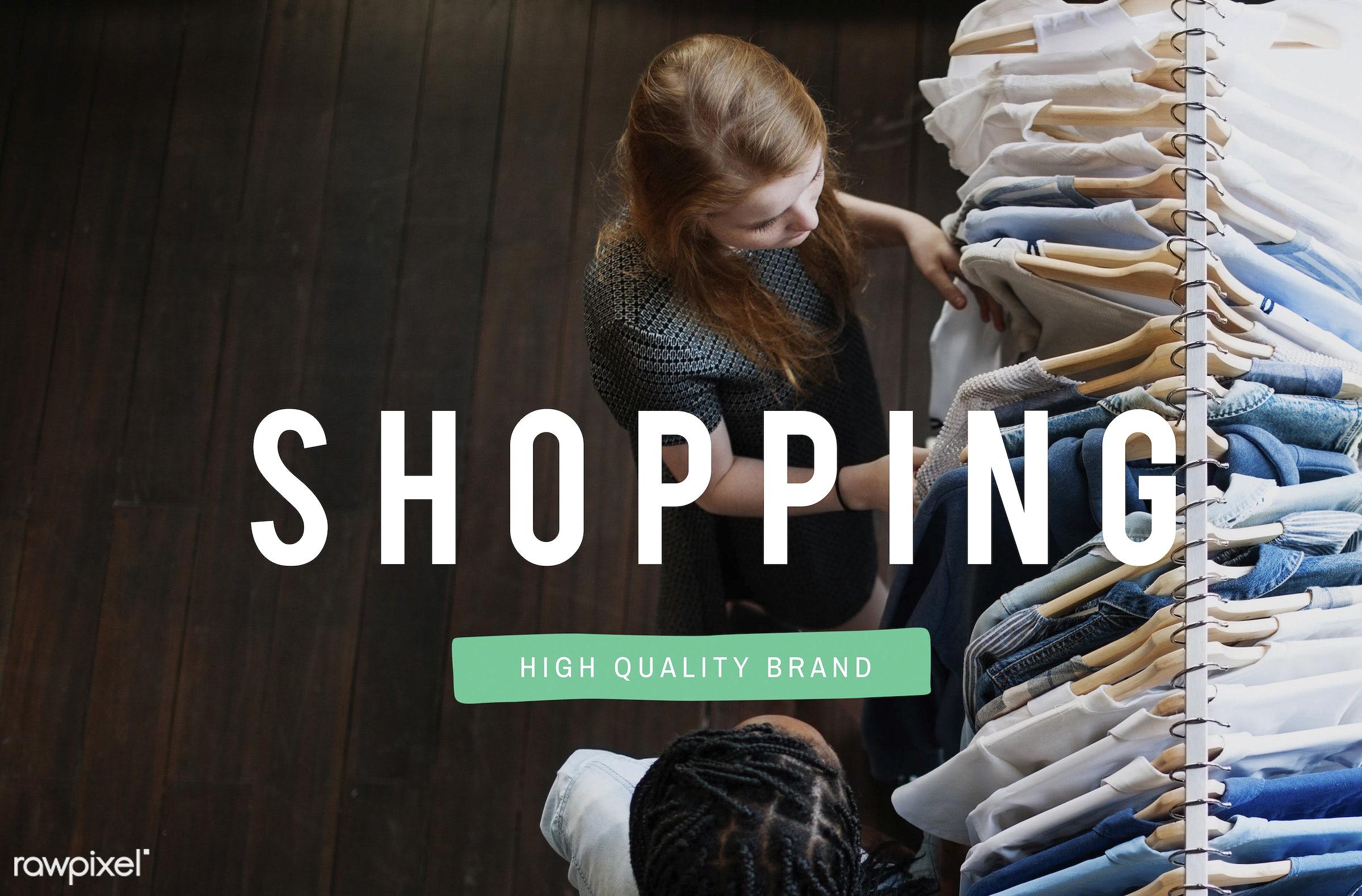Shopping - shopping, african descent, blue, choosing, clothes, enjoyment, female, fun, hangers, jeans, lifestyle, long hair...