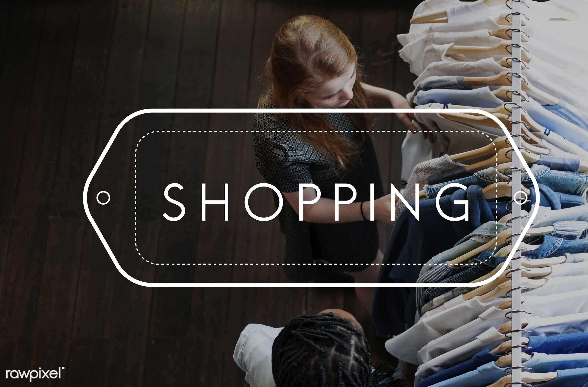 shopping, youth, african descent, blue, caucasian, choosing, clothes, enjoyment, female, fun, hangers, jeans, lifestyle,...