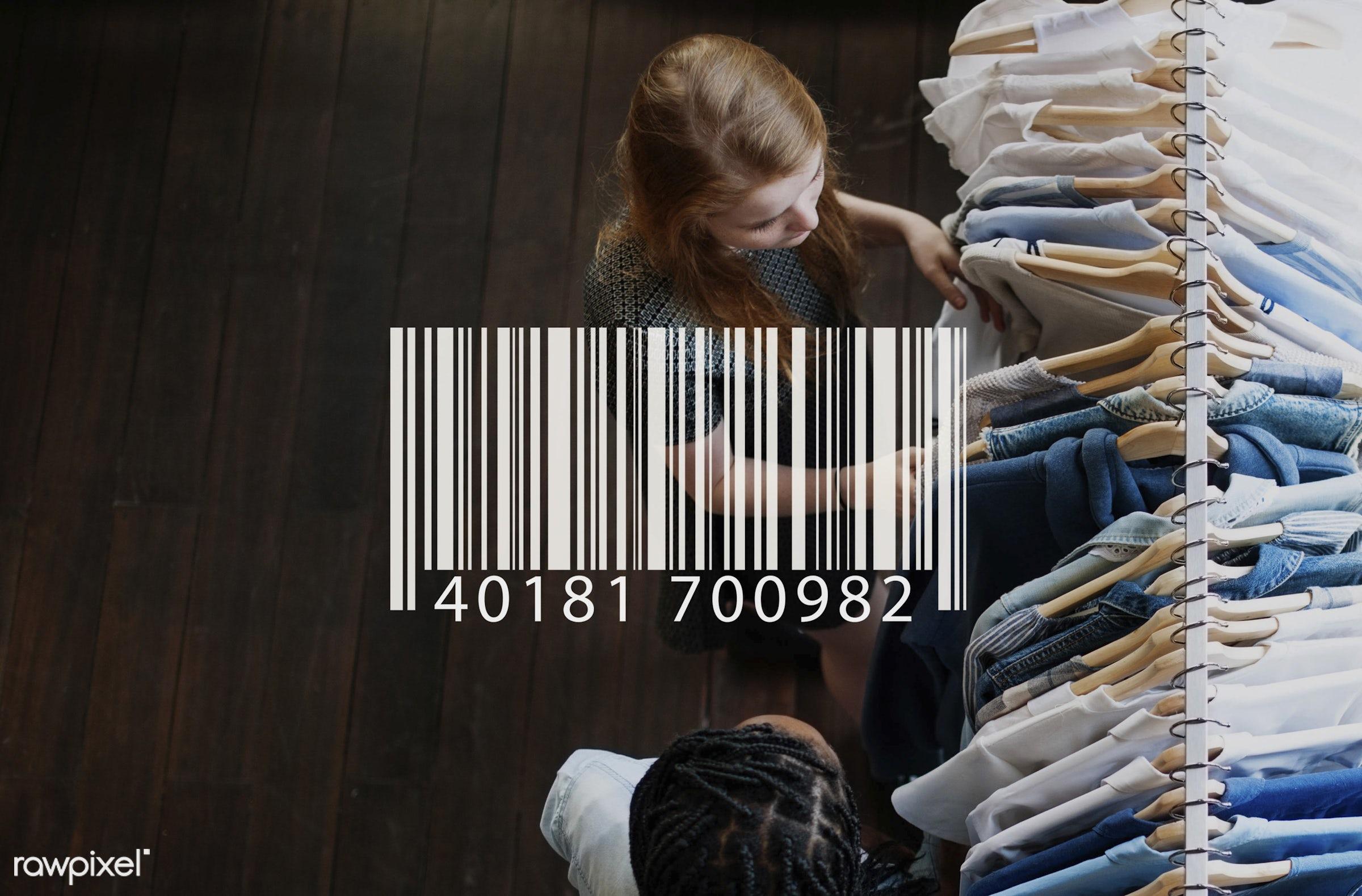 Shopping - shopping, customer, barcode, product, market, digital, smart, african descent, blue, business, cart, checkout,...