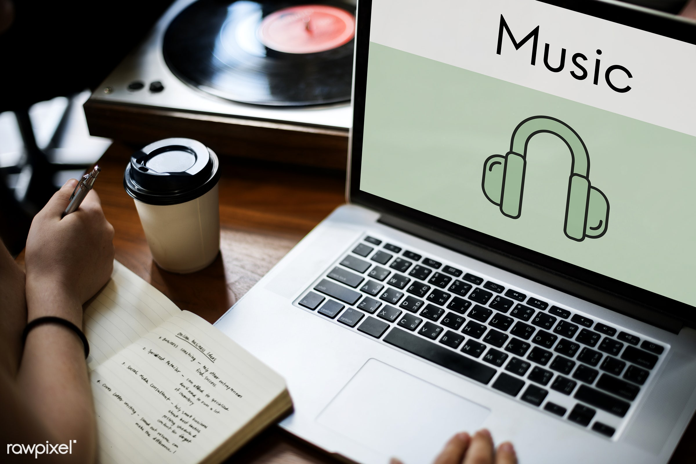 Online music - listen, media, speaker, audio, browsing, chill, coffee cup, creative, device, digital, digital device,...