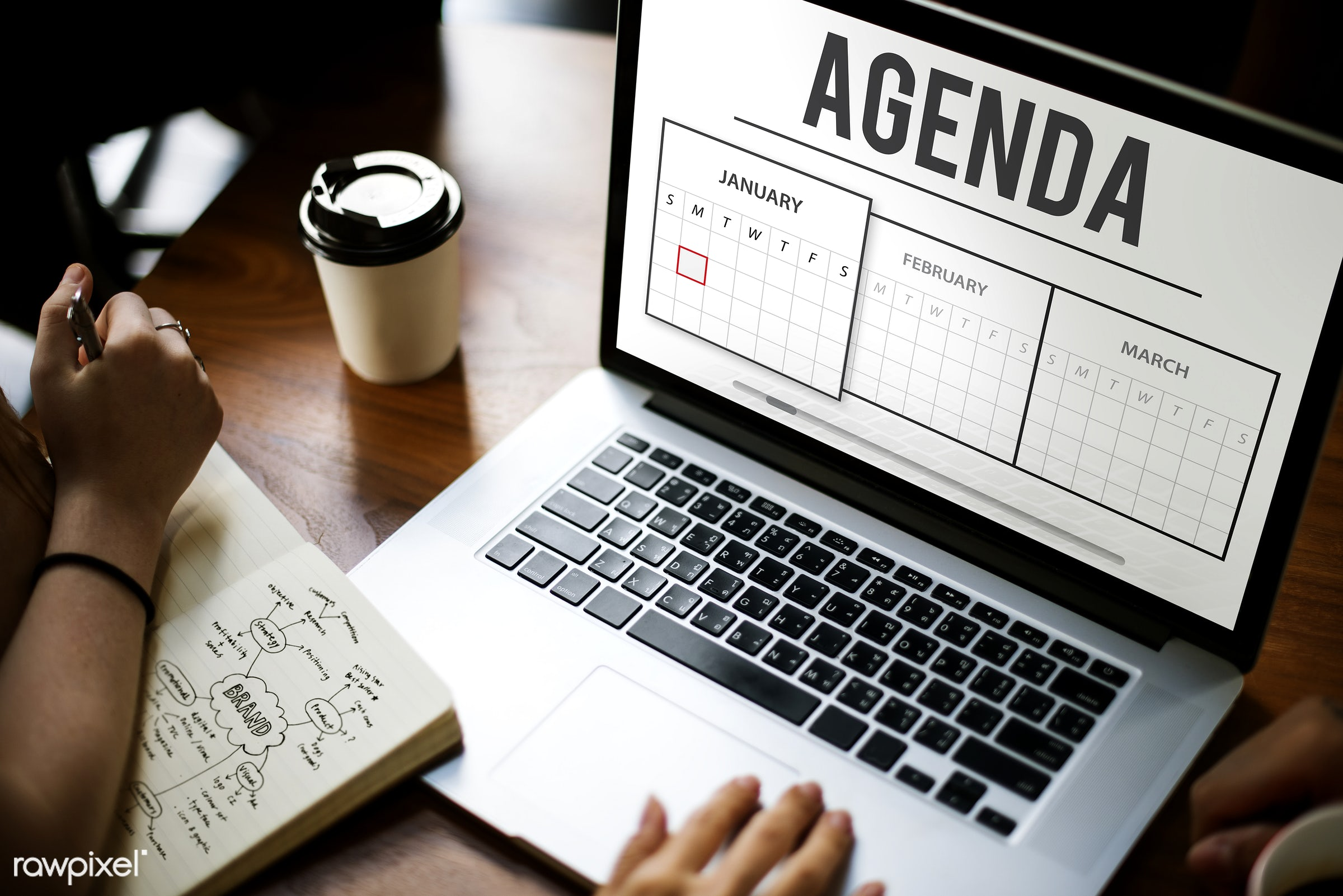 agenda, appointment, browsing, calendar, coffee cup, daily, date, deadline, device, digital, digital device, events, goals,...