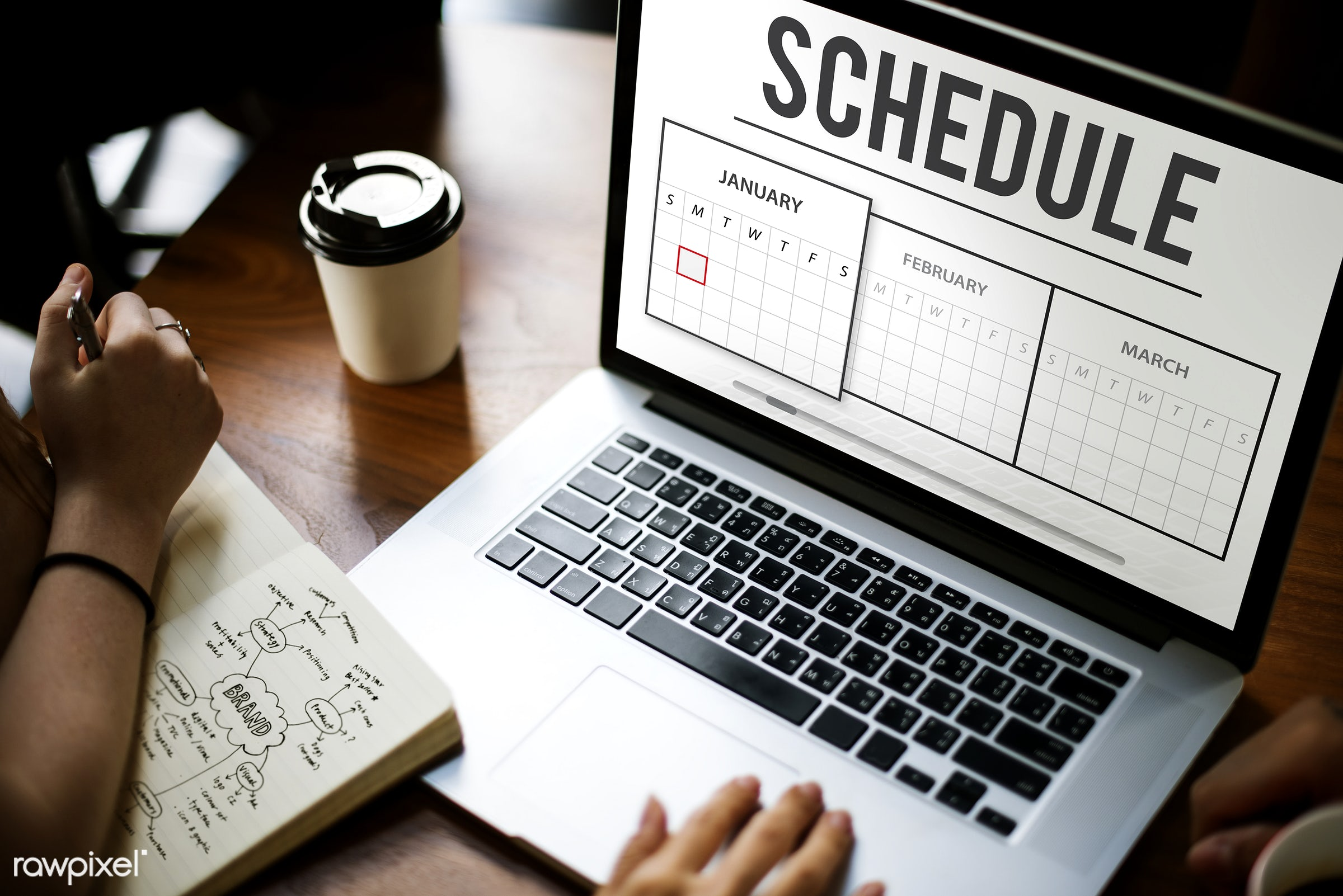 schedule, agenda, appointment, browsing, calendar, coffee cup, daily, date, deadline, device, digital, digital device,...