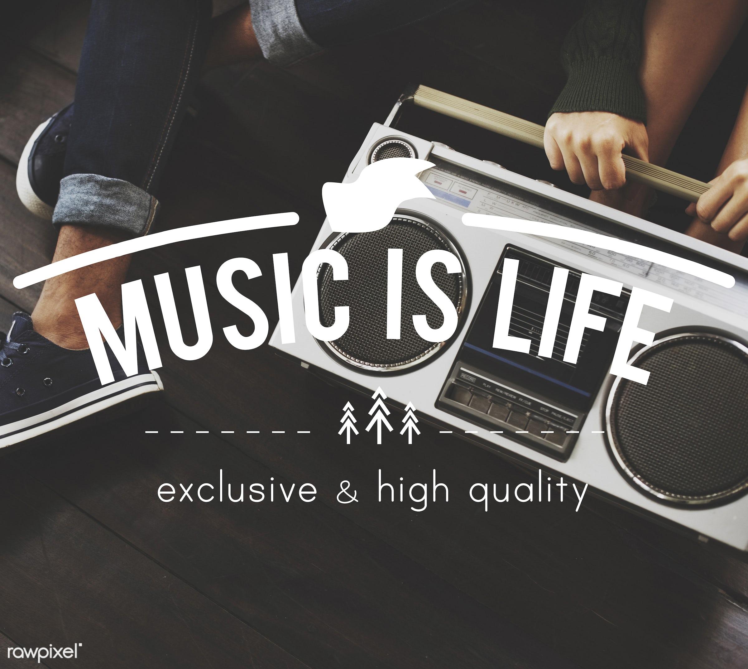 Music is life - audio, badges, border, chilling, christmas tree, decoration, design, elements, enjoyment, entertain,...