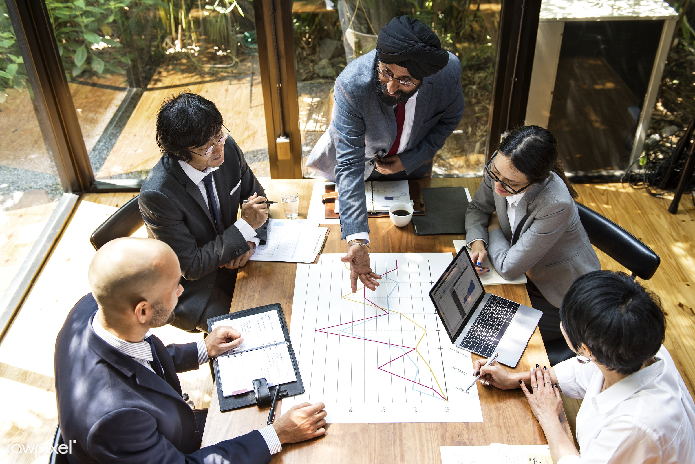 Business meeting in Asia - analysis, asian ethnicity, board room, brainstorming, business, business people, business plan,...