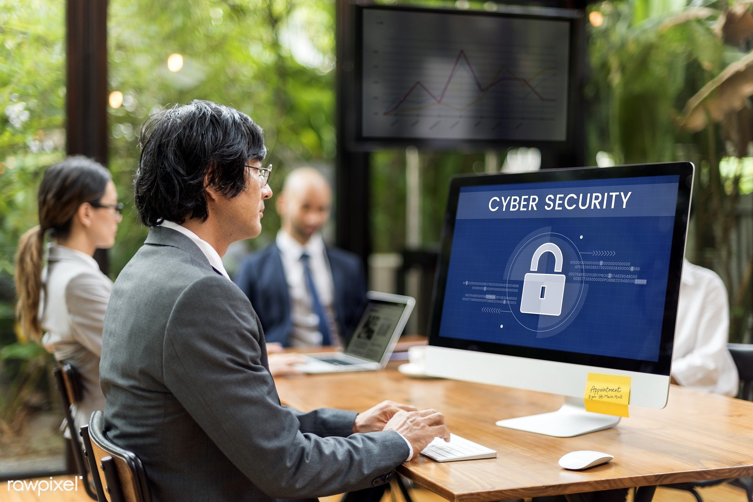 cyber security, antivirus, asian, business, businessmen, businesswomen, caucasian, computer, computer monitor, conference,...